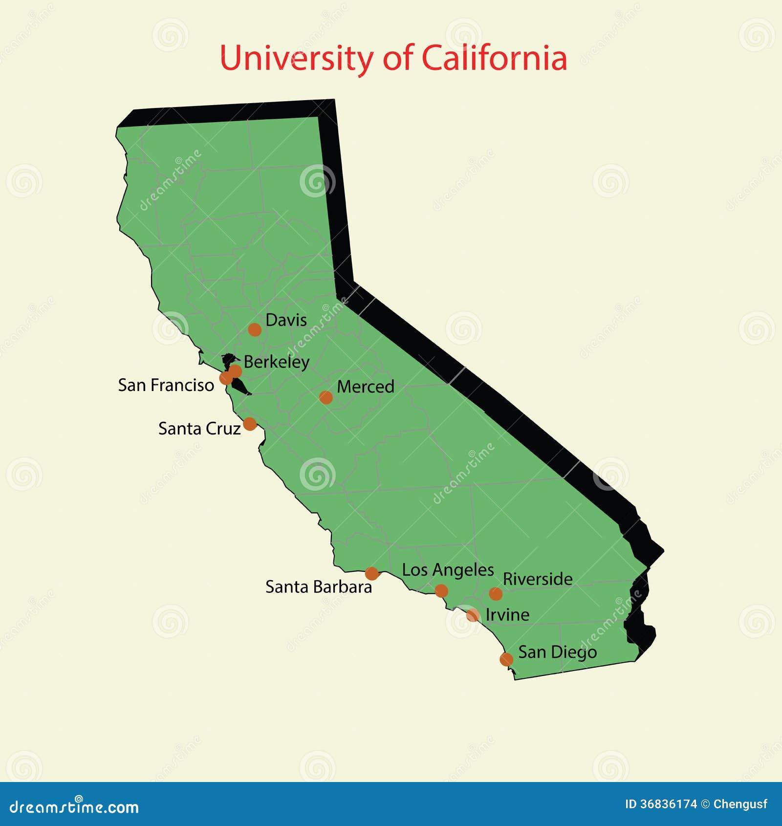 Karte 3d Von University Of California Campus Stockbilder
