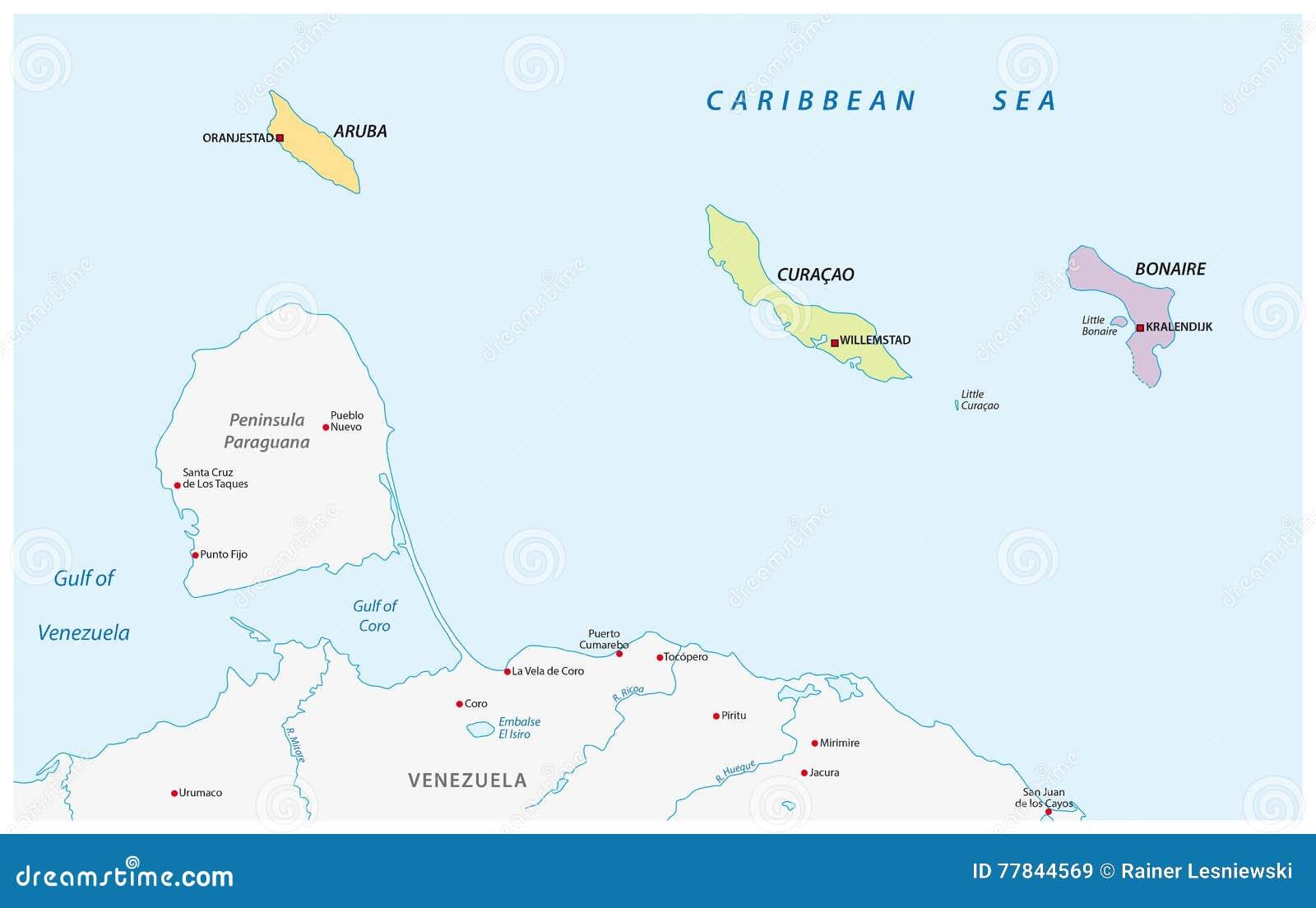 Aruba Karte Karibik.Karte Der Abc Inseln Im Karibischen Meer Stock Abbildung