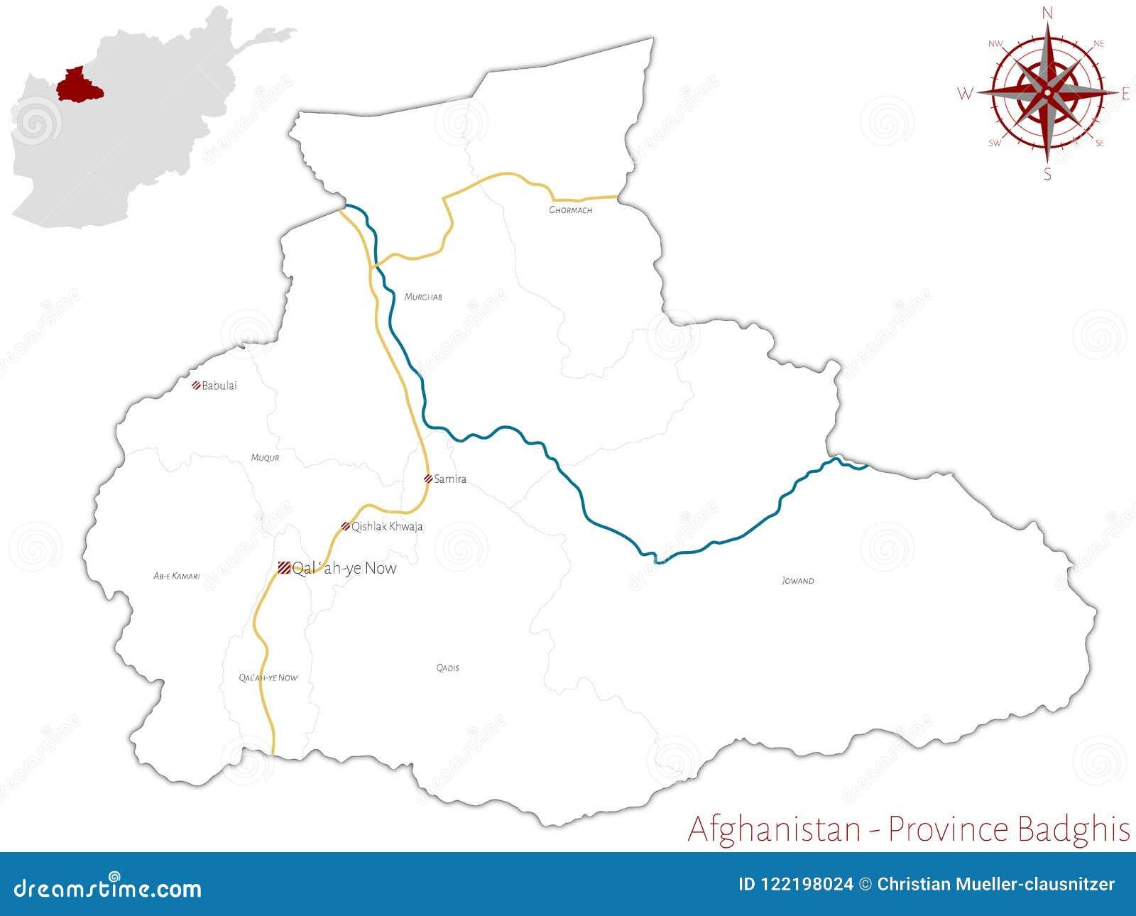 Karte Afghanistan Provinzen.Karte Der Afghanischen Provinz Von Badghis Vektor Abbildung