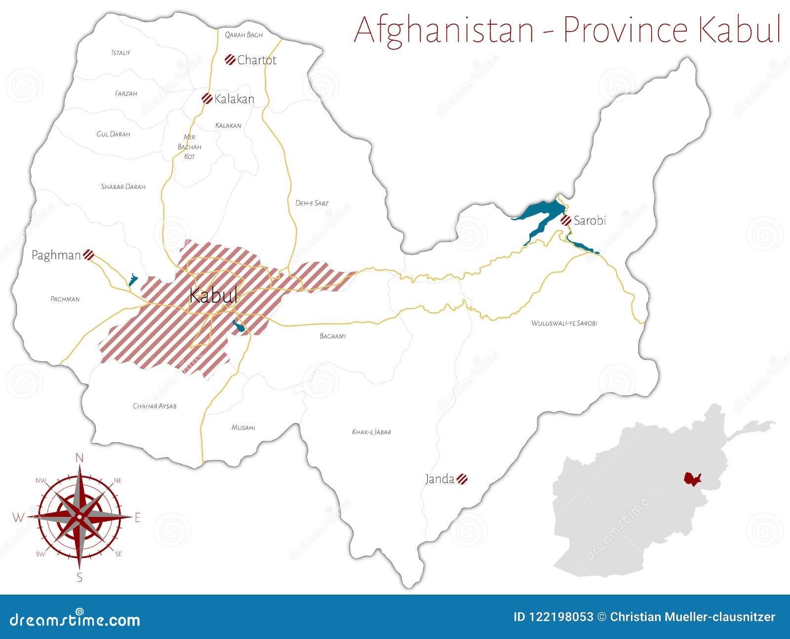 Karte Afghanistan Provinzen.Karte Der Afghanischen Provinz Von Kabul Vektor Abbildung