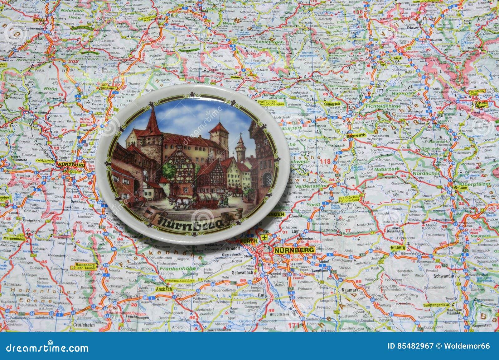 Nürnberg Karte Deutschland.Karte Der Deutschland Andenkenplatte Von Nürnberg Stockbild Bild