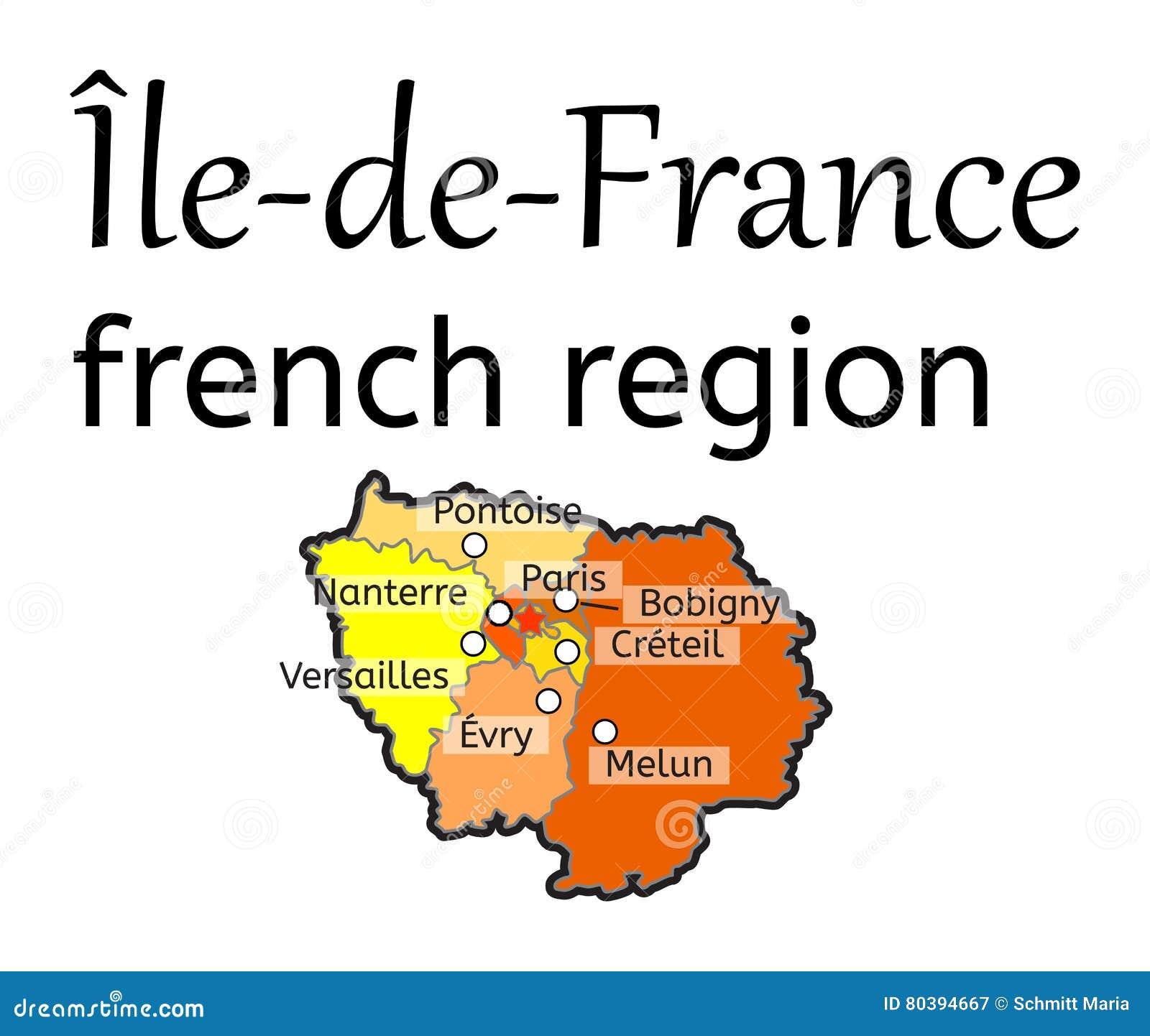 Karte Der Franzosischen Region Des Ile De France Vektor Abbildung Illustration Von Franzosischen Region 80394667
