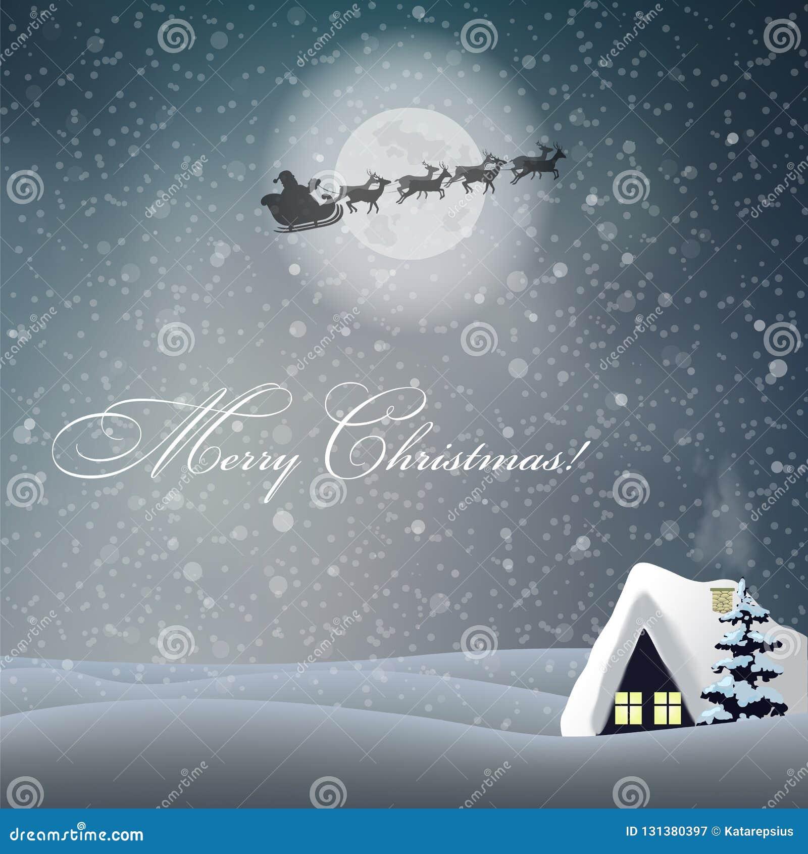 karte der frohen weihnachten mit nachtlandschaft haus
