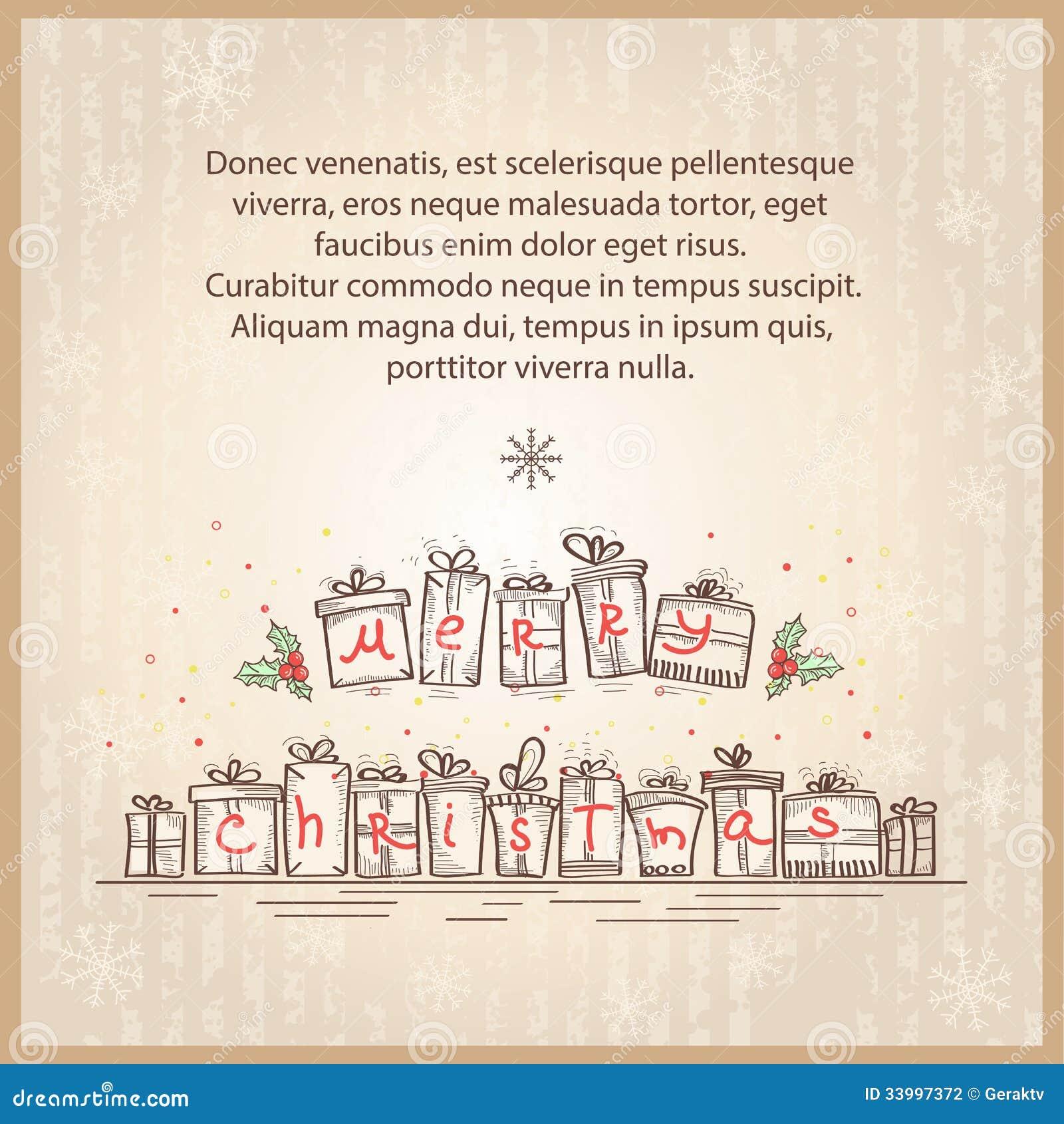 karte der frohen weihnachten vektorzeichnungs skizze. Black Bedroom Furniture Sets. Home Design Ideas