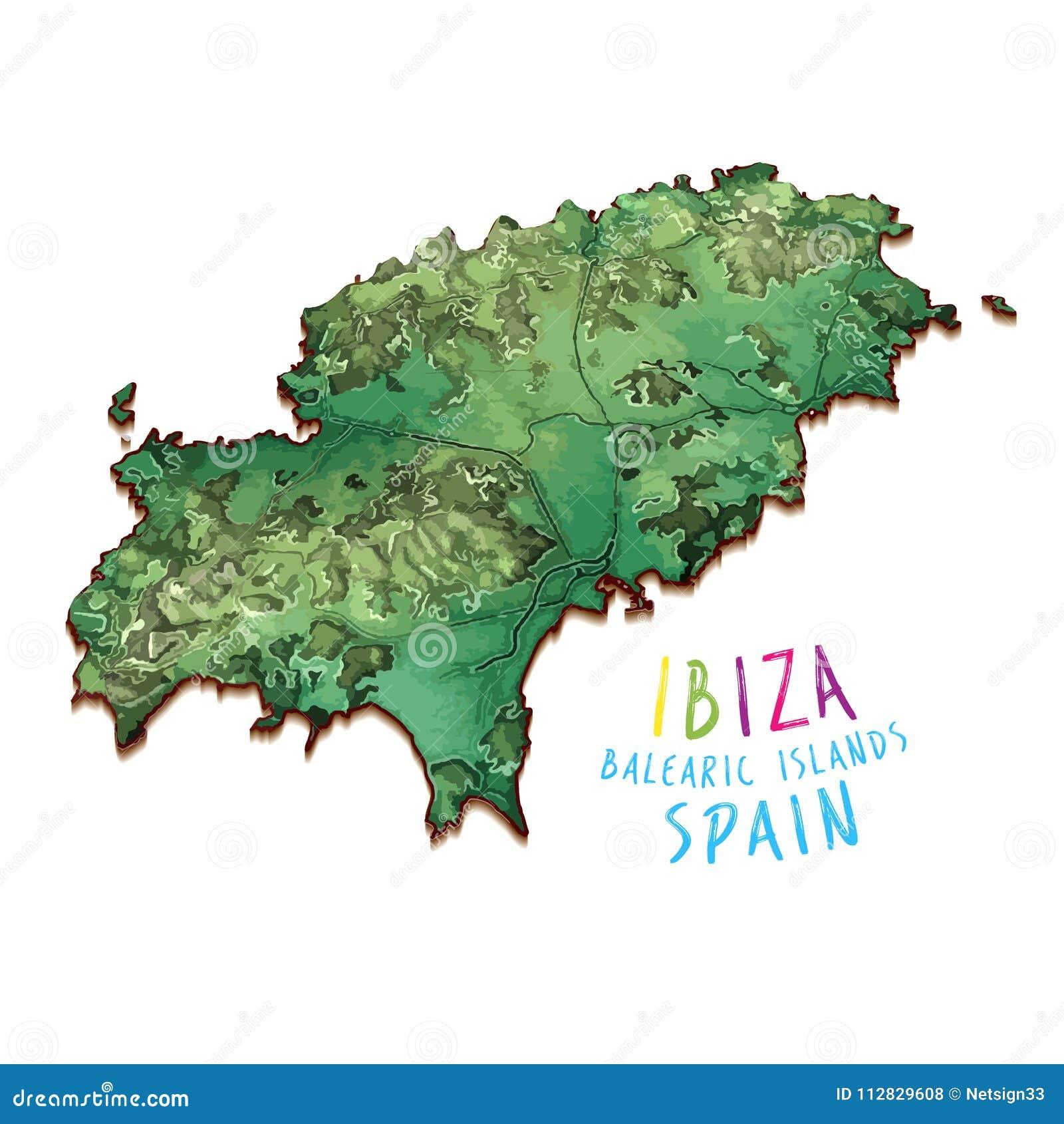 Insel Menorca Karte.Karte Der Insel 3d Von Ibiza Vektor Abbildung Illustration