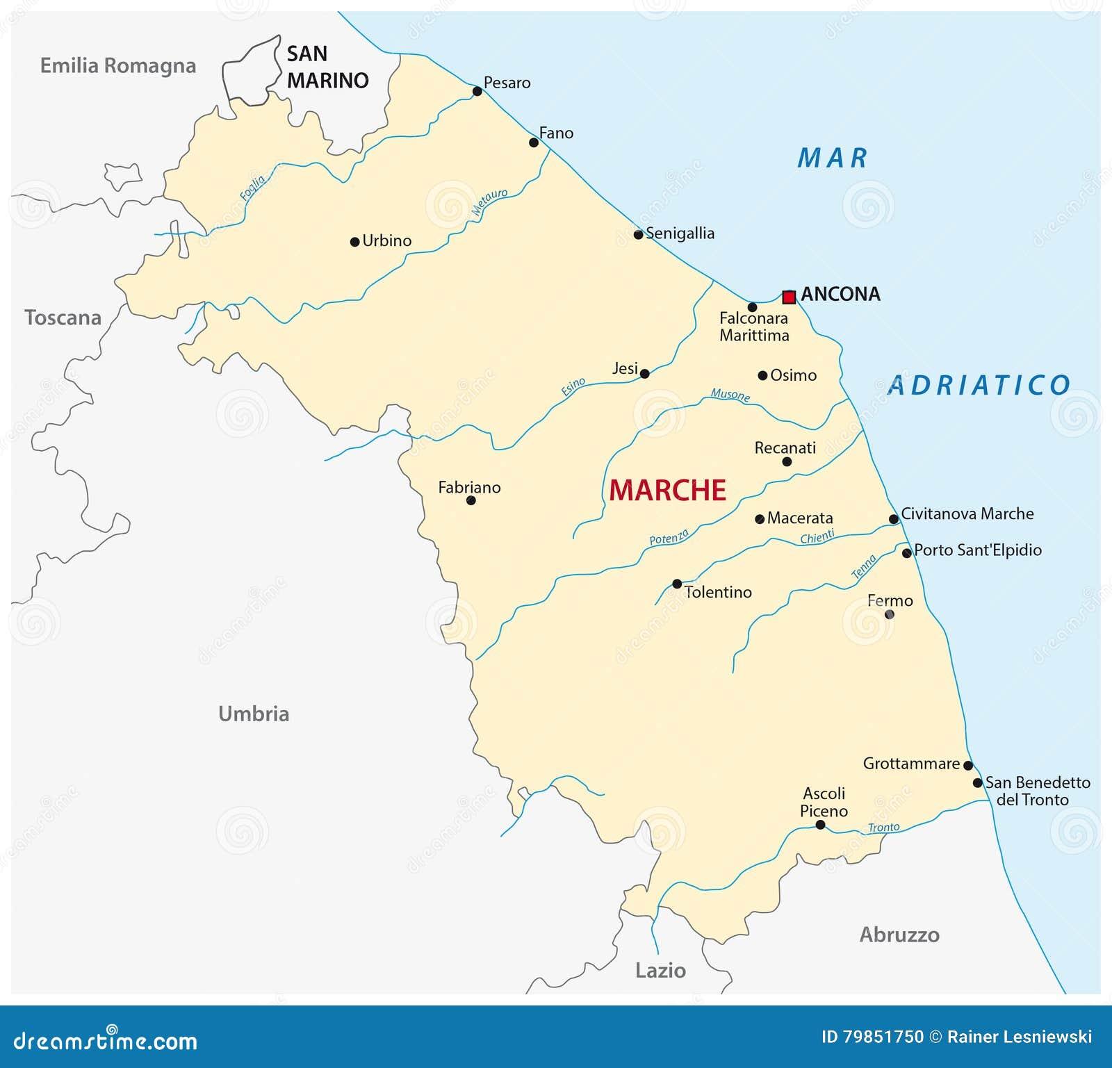 Karte Der Italienischen Region Marken Vektor Abbildung