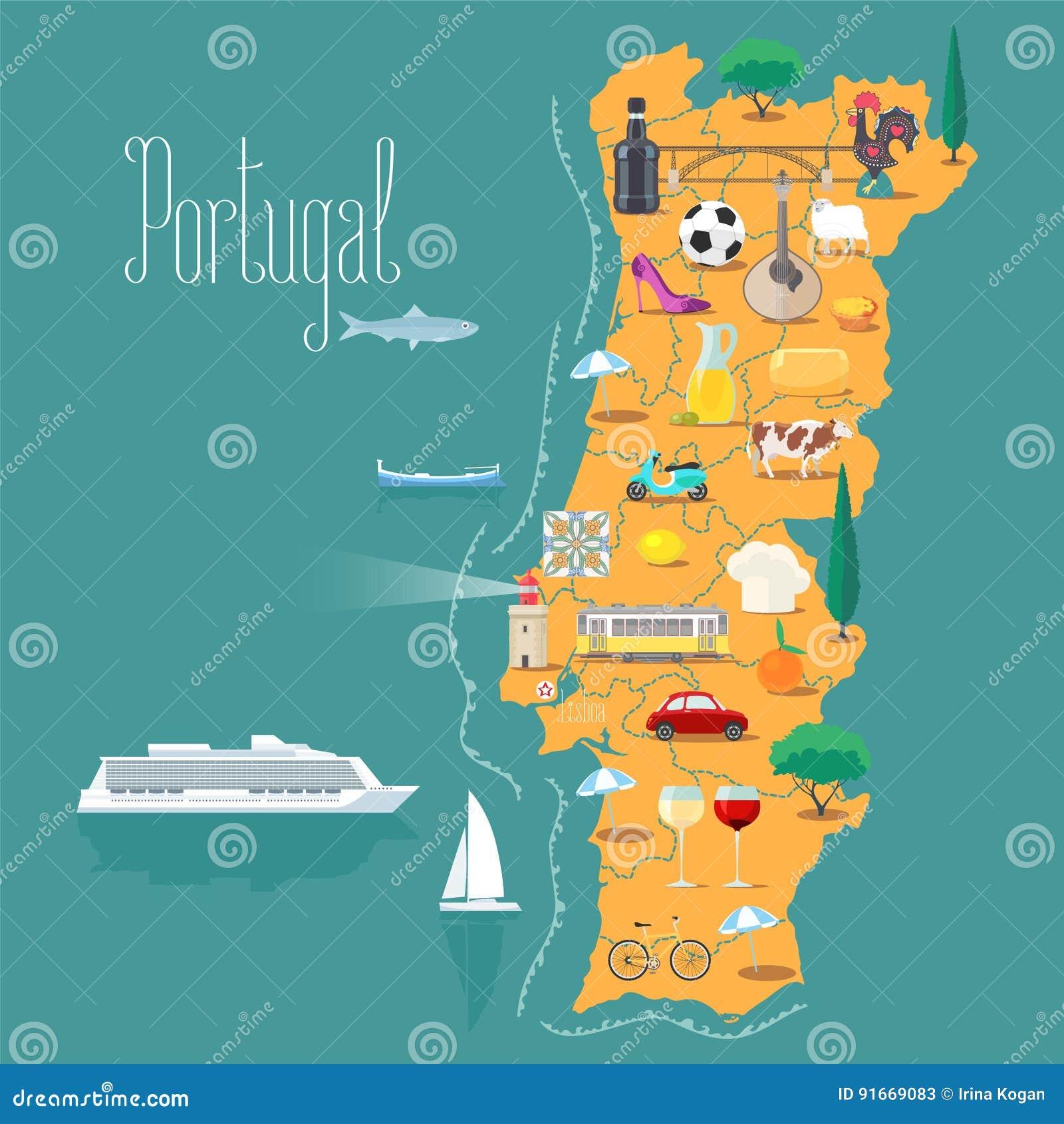 Porto Portugal Karte.Karte Der Portugal Vektorillustration Design Vektor