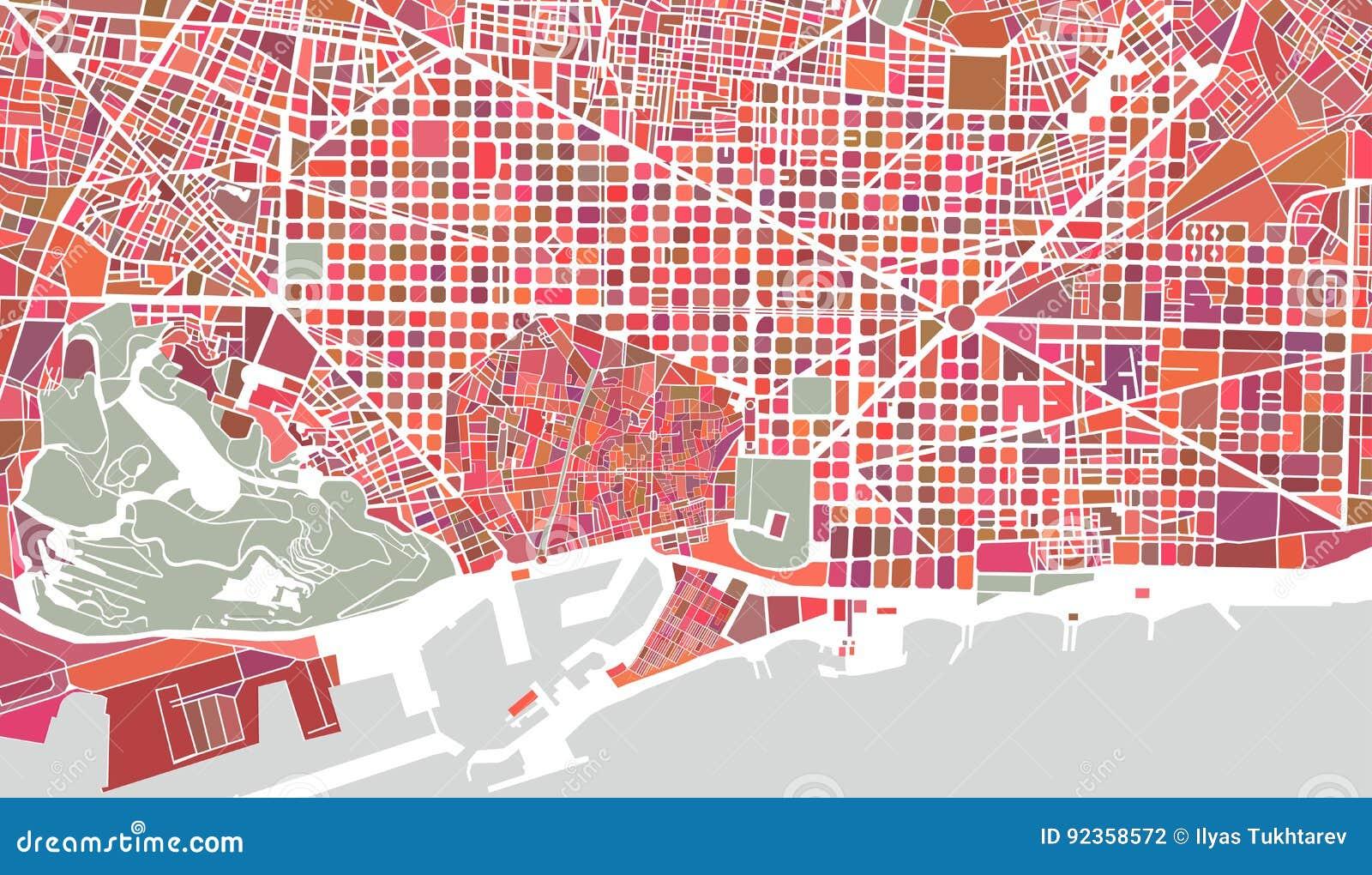 Spanien Katalonien Karte.Karte Der Stadt Von Barcelona Spanien Vektor Abbildung