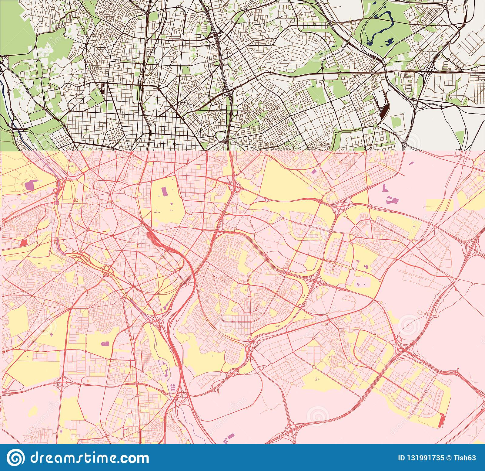 Karte Der Stadt Von Madrid Spanien Vektor Abbildung