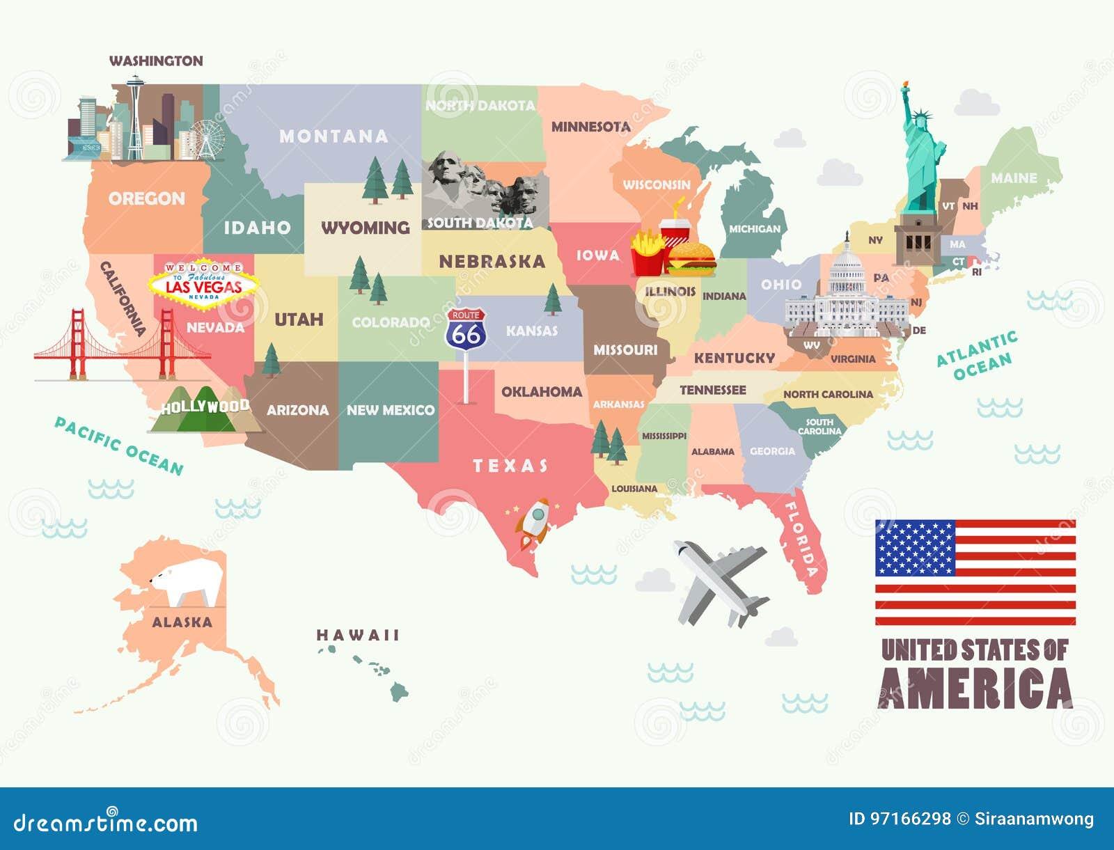 Amerika Karte Staaten.Karte Der Vereinigten Staaten Von Amerika Mit Beruhmten