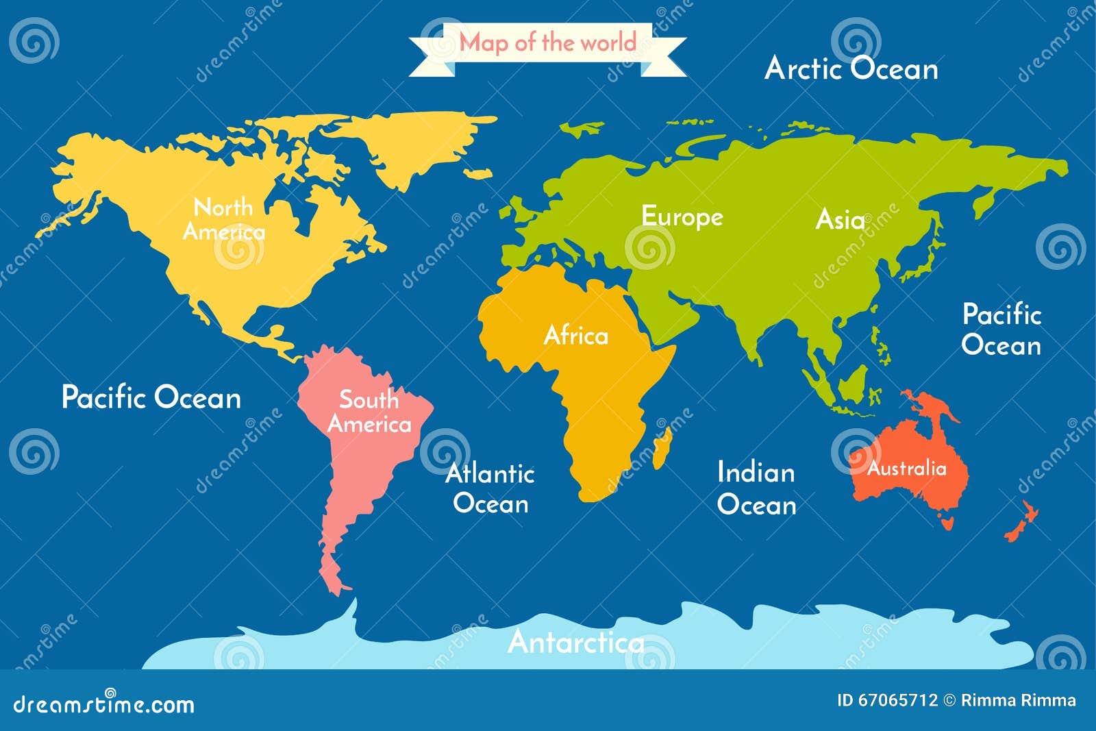 Karte Kontinente Welt.Karte Der Welt Vector Illustration Mit Der Aufschrift Der