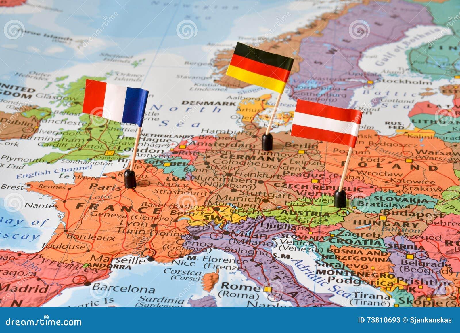 deutschland frankreich karte Karte Der Westeuropa Länder Deutschland, Frankreich, Österreich