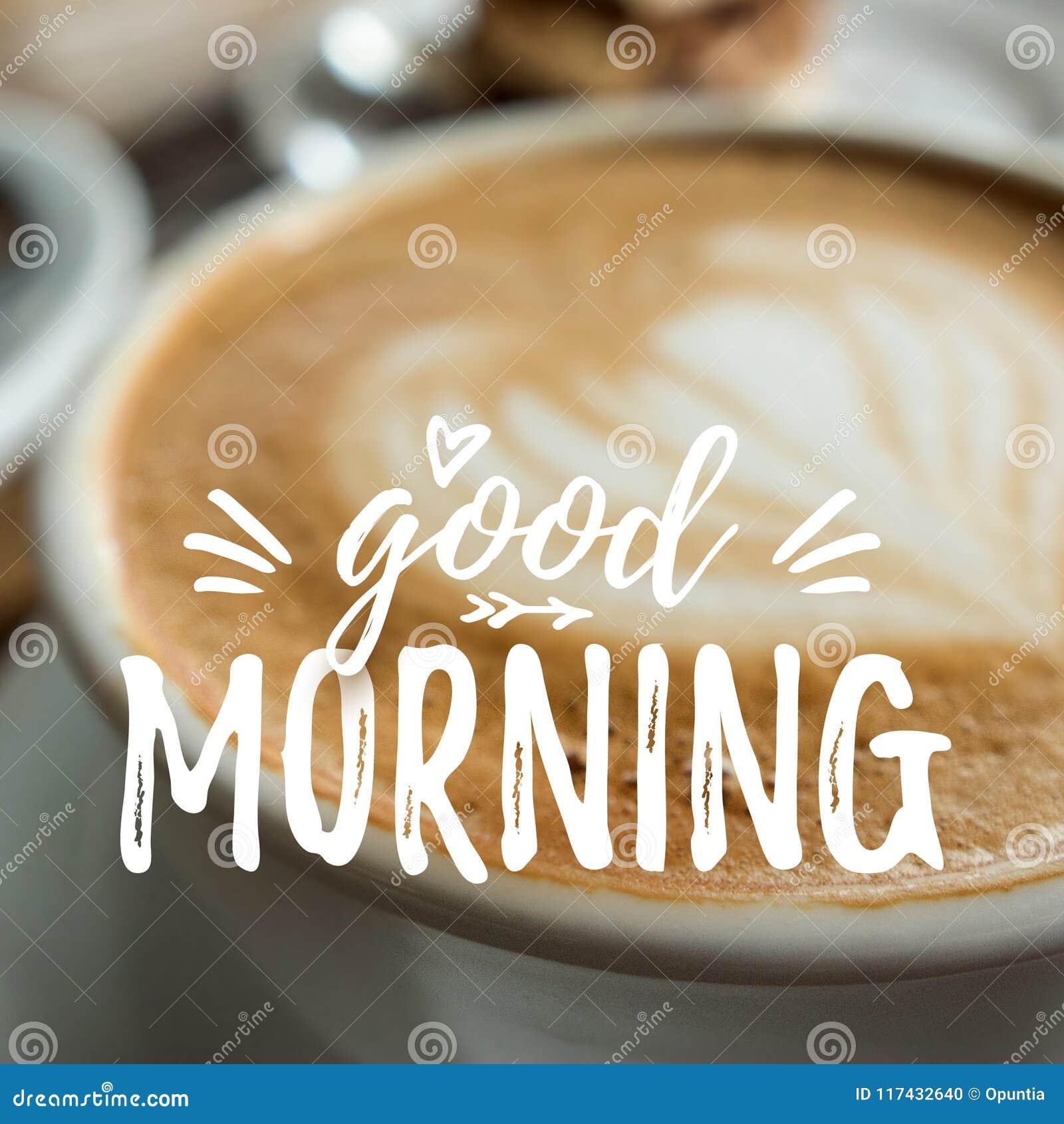 Karte Des Gutenmorgens Mit Kaffee Stockfoto Bild Von