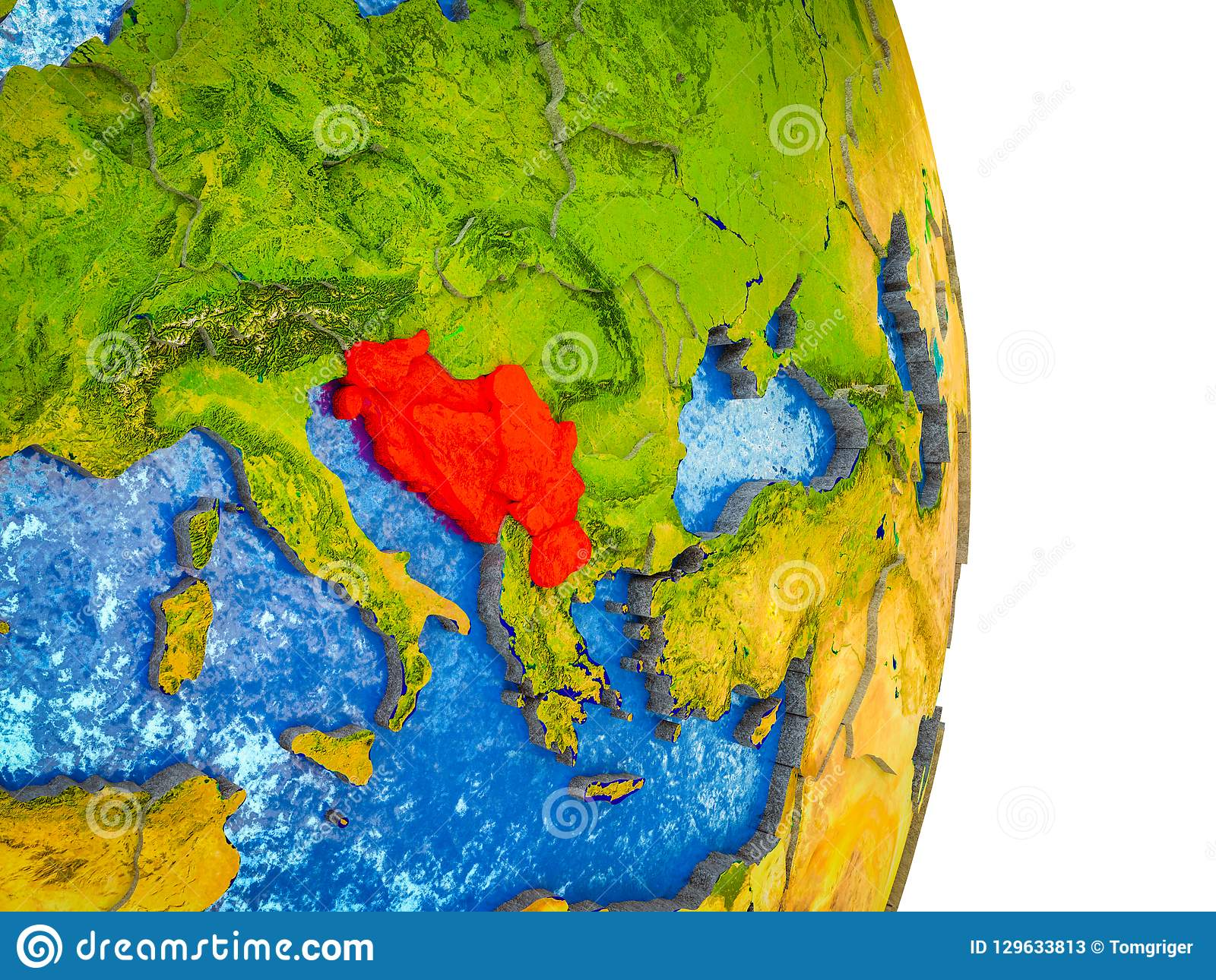 Jugoslawien Karte.Karte Des Jugoslawiens Auf Erde 3d Stock Abbildung Illustration