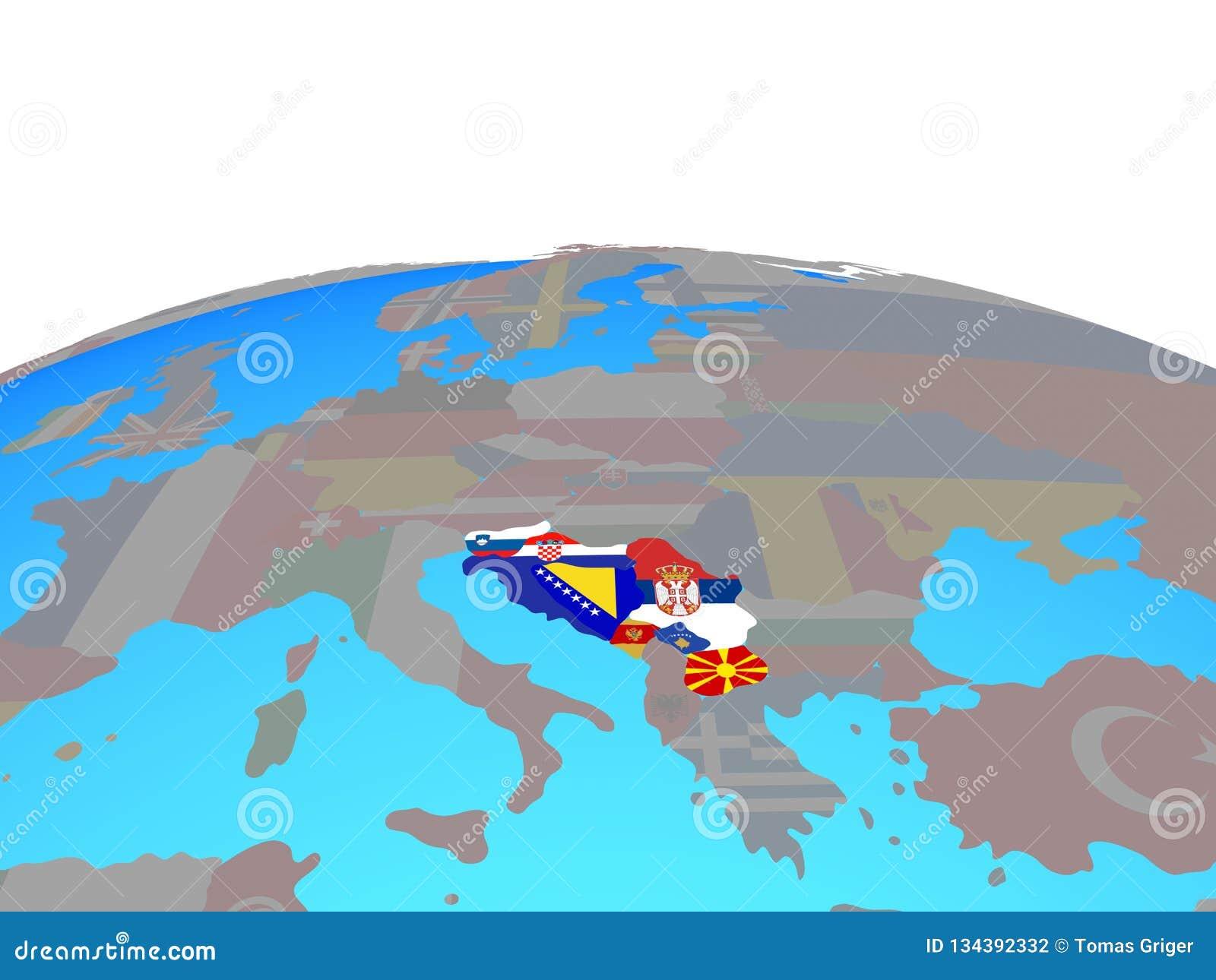 Ex Jugoslawien Karte.Karte Des Jugoslawiens Mit Flaggen Auf Kugel Stock Abbildung