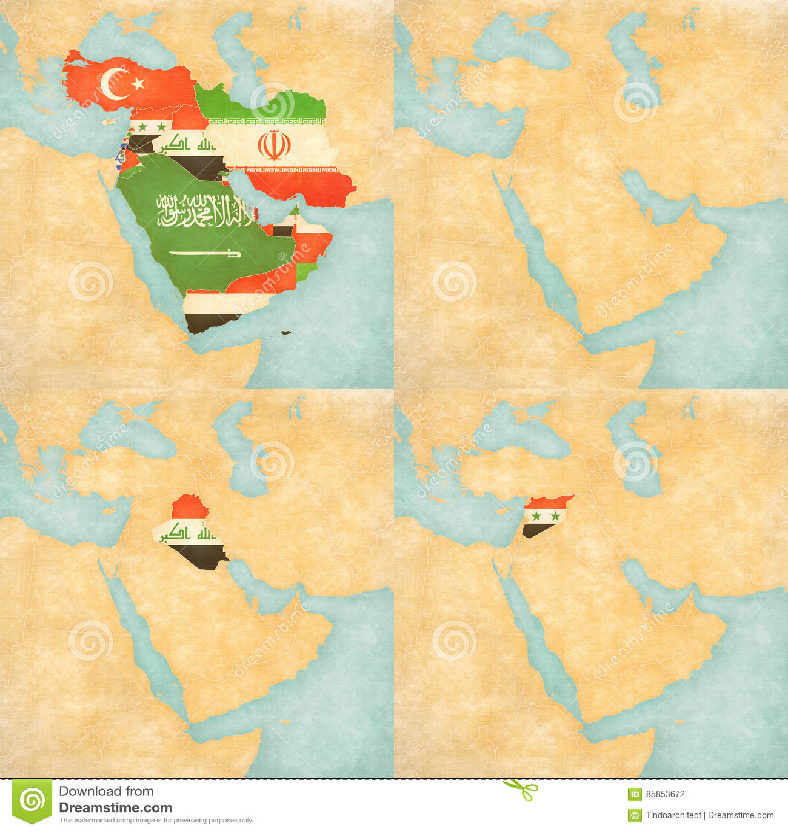 Syrien Irak Karte.Karte Des Mittlere Ostens Asien Alle Länder Leere Karte Der
