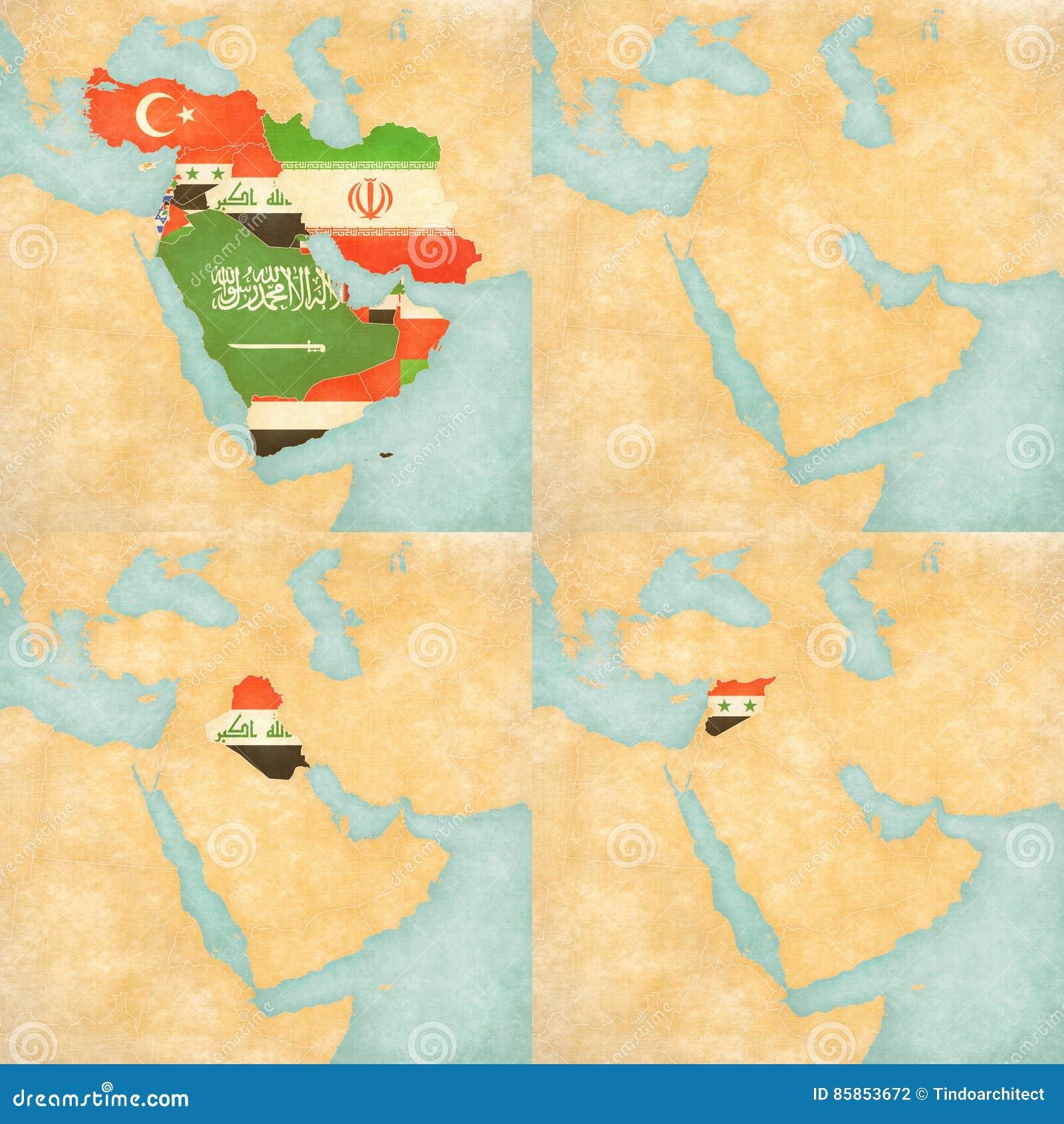 Syrien Irak Karte.Karte Des Mittlere Ostens Asien Alle Lander Leere Karte