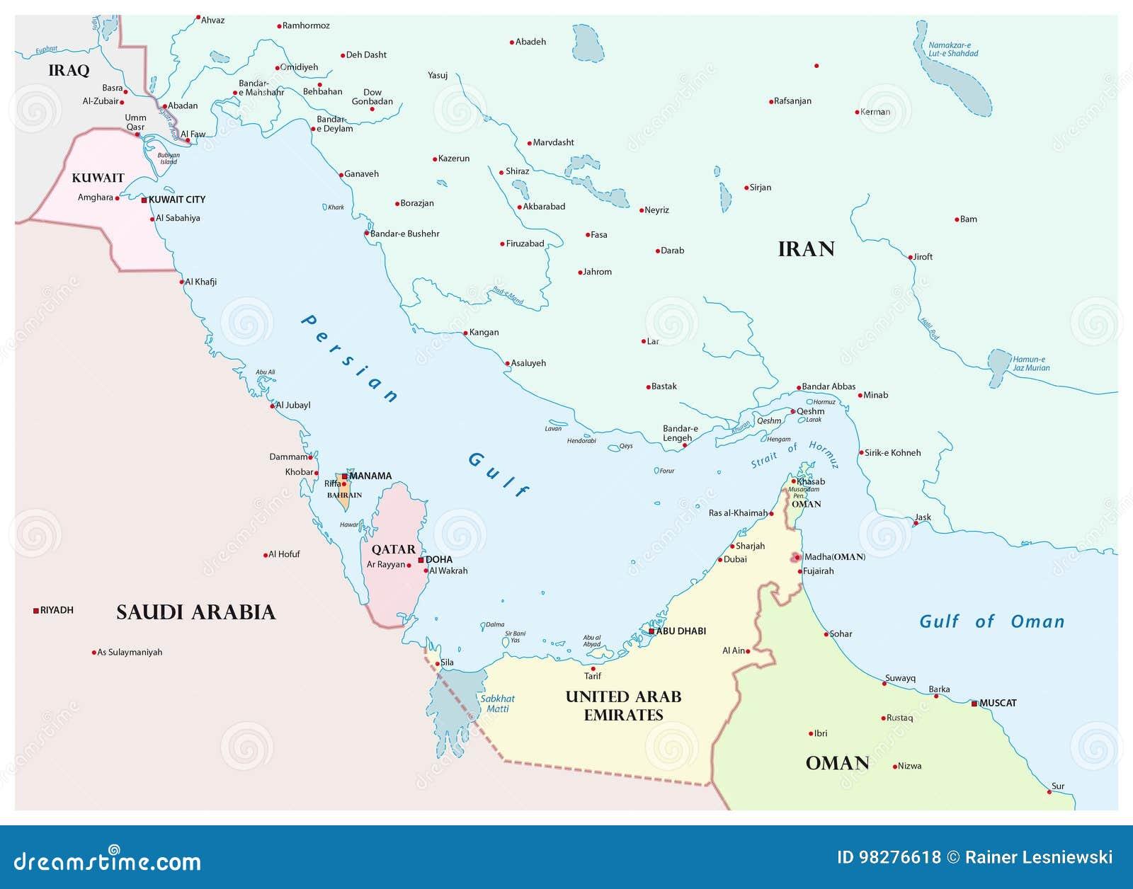 Karte Des Persischen Golfs Und Seiner Anliegerstaat Vektor