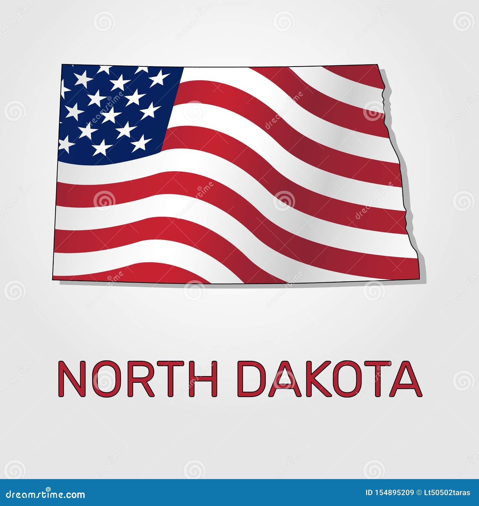 Karte Des Staates Von North Dakota Im Verbindung Mit A