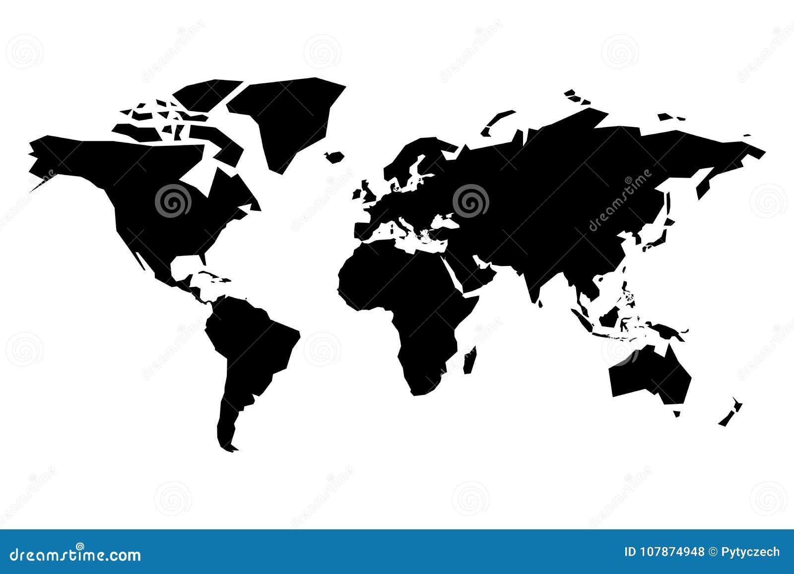 Karte des Weltvektorschattenbildes Vereinfachte schwarze Karte auf weißem Hintergrund
