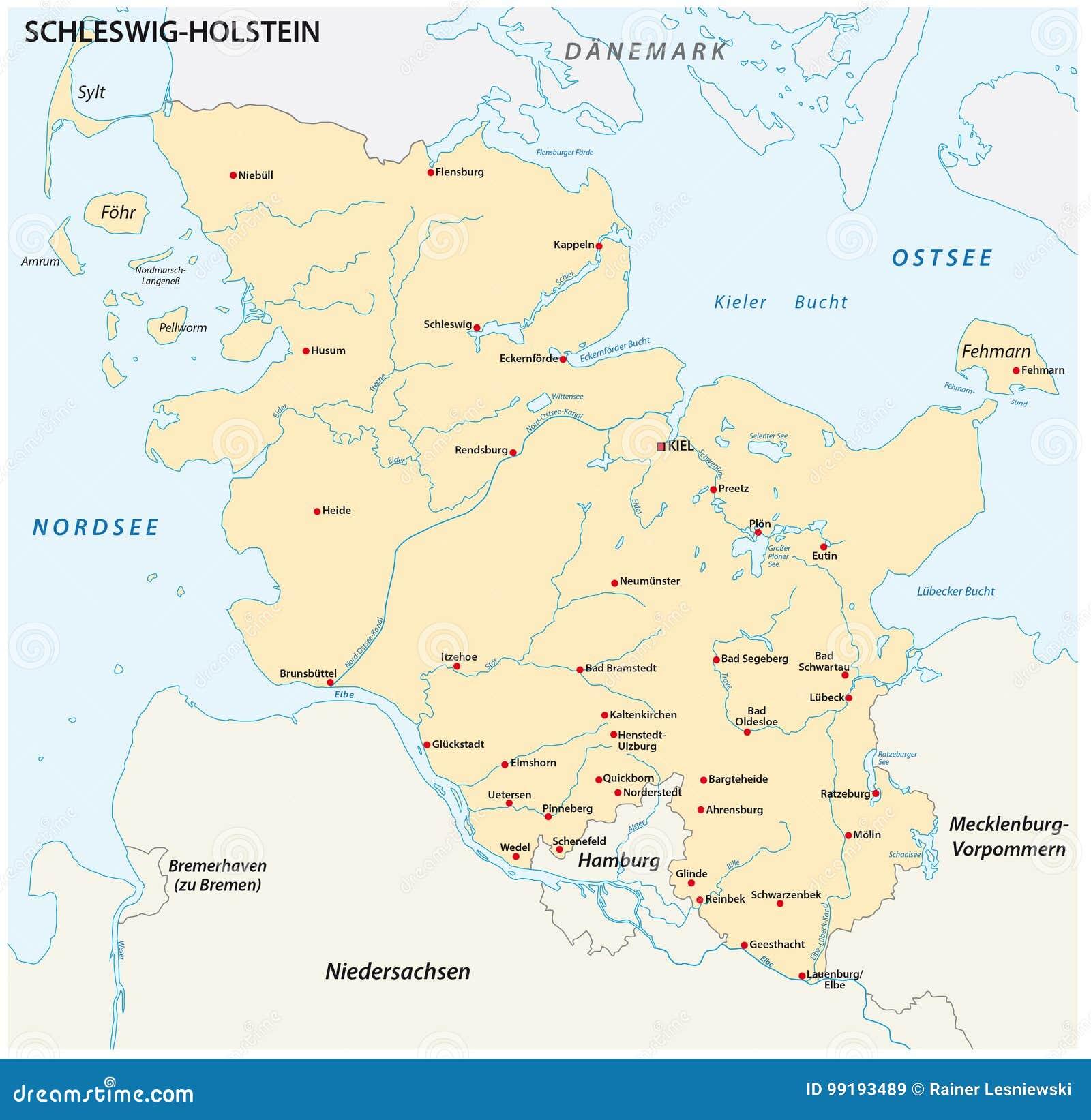 Schleswig Holstein Karte.Karte Des Zustandes Schleswig Holstein Mit Den Wichtigsten Städten