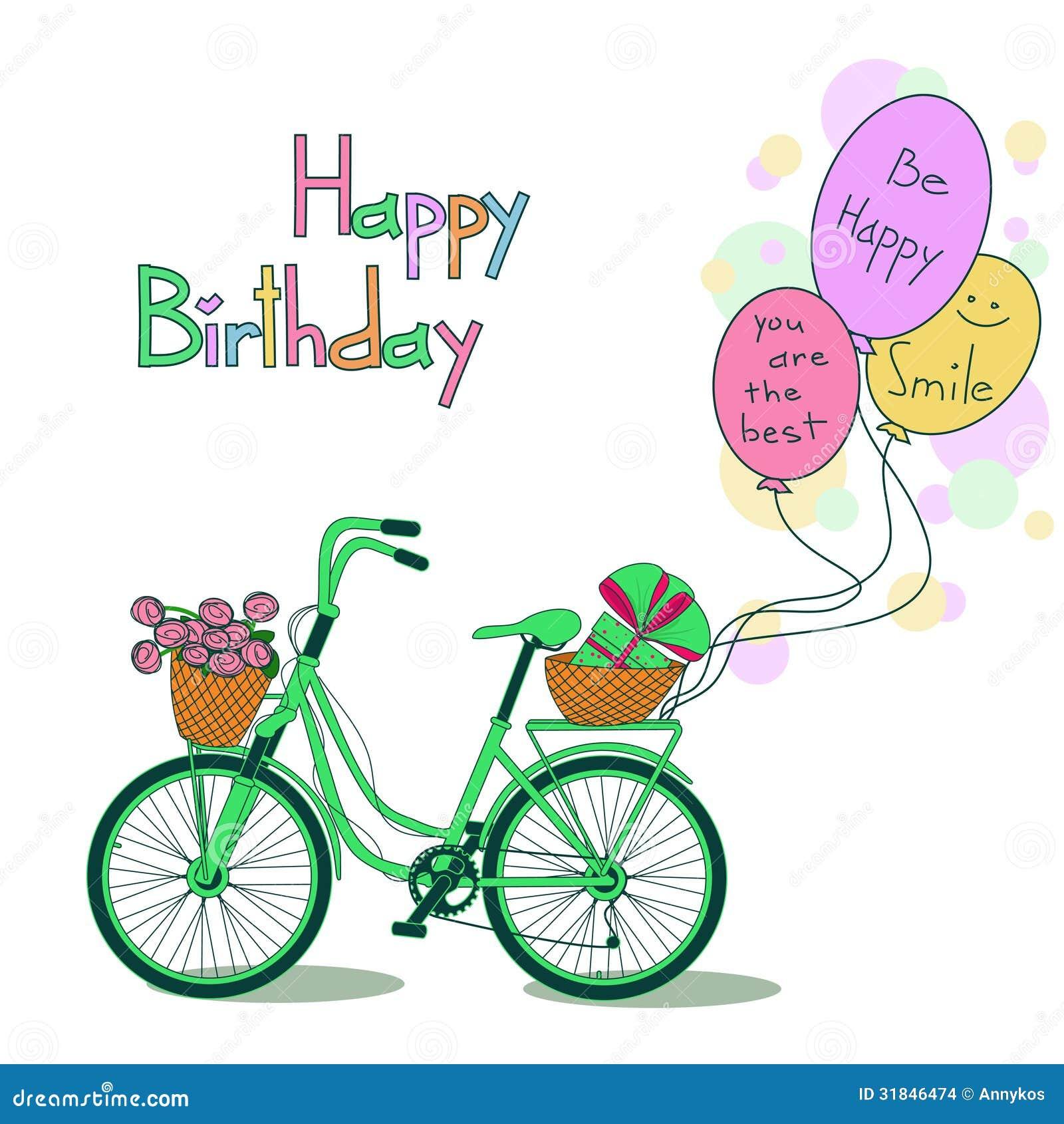 Fahrrad Karte.Karte Für Geburtstag Mit Fahrrad Und Ballonen Vektor Abbildung