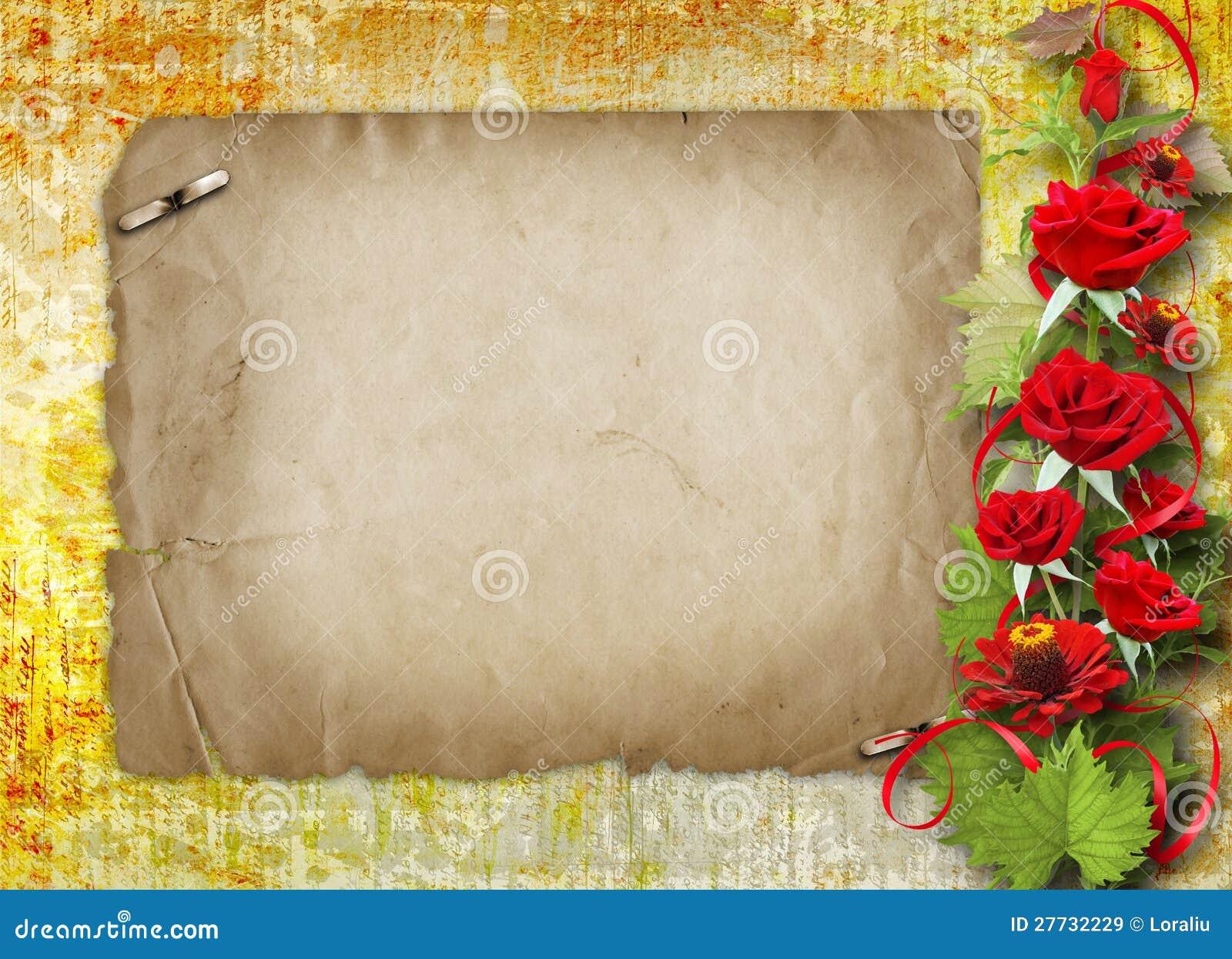 Karte für Glückwunsch mit roten Rosen