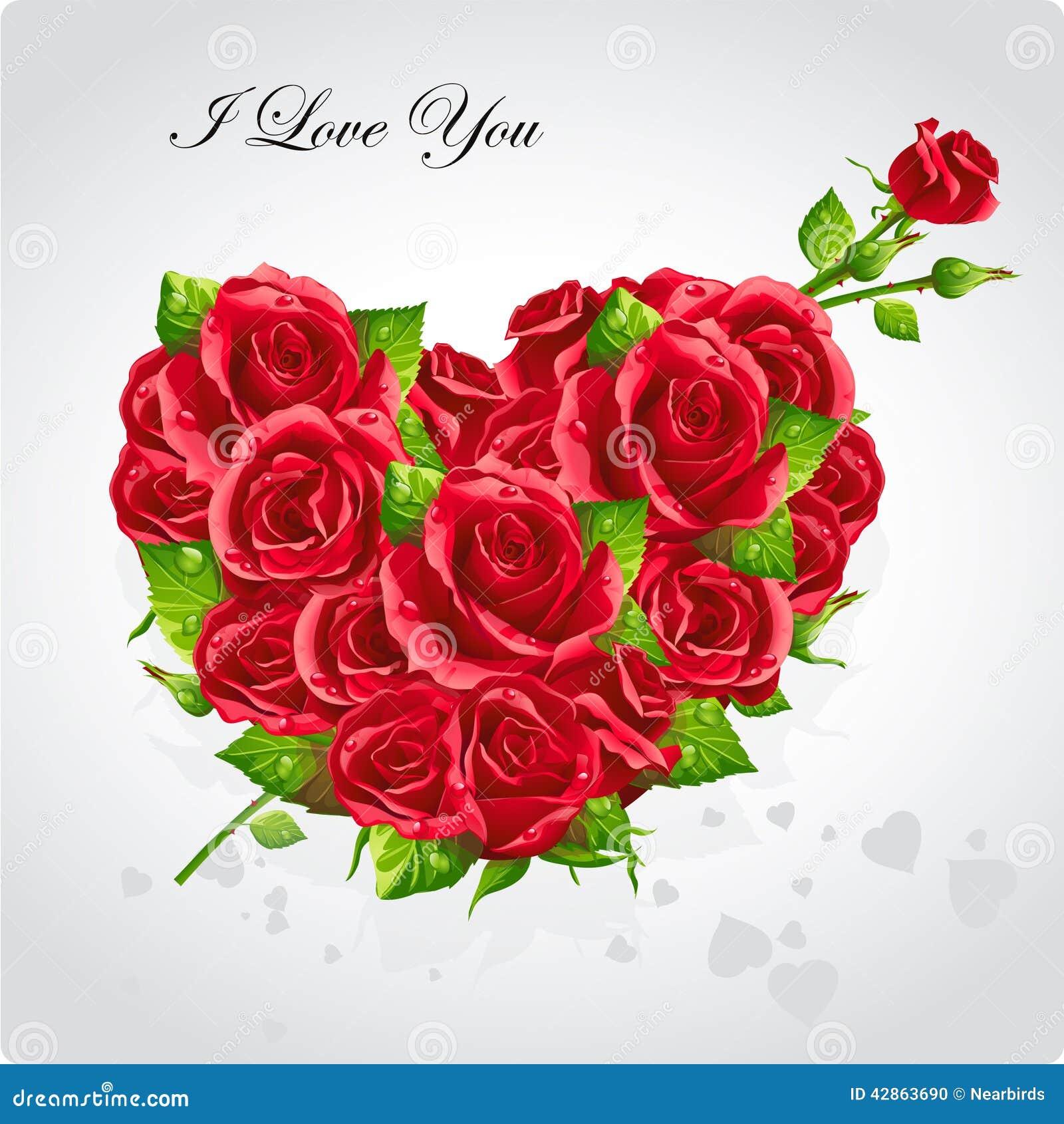 Karte Für Valentinstag Herz Roten Roses EPS10