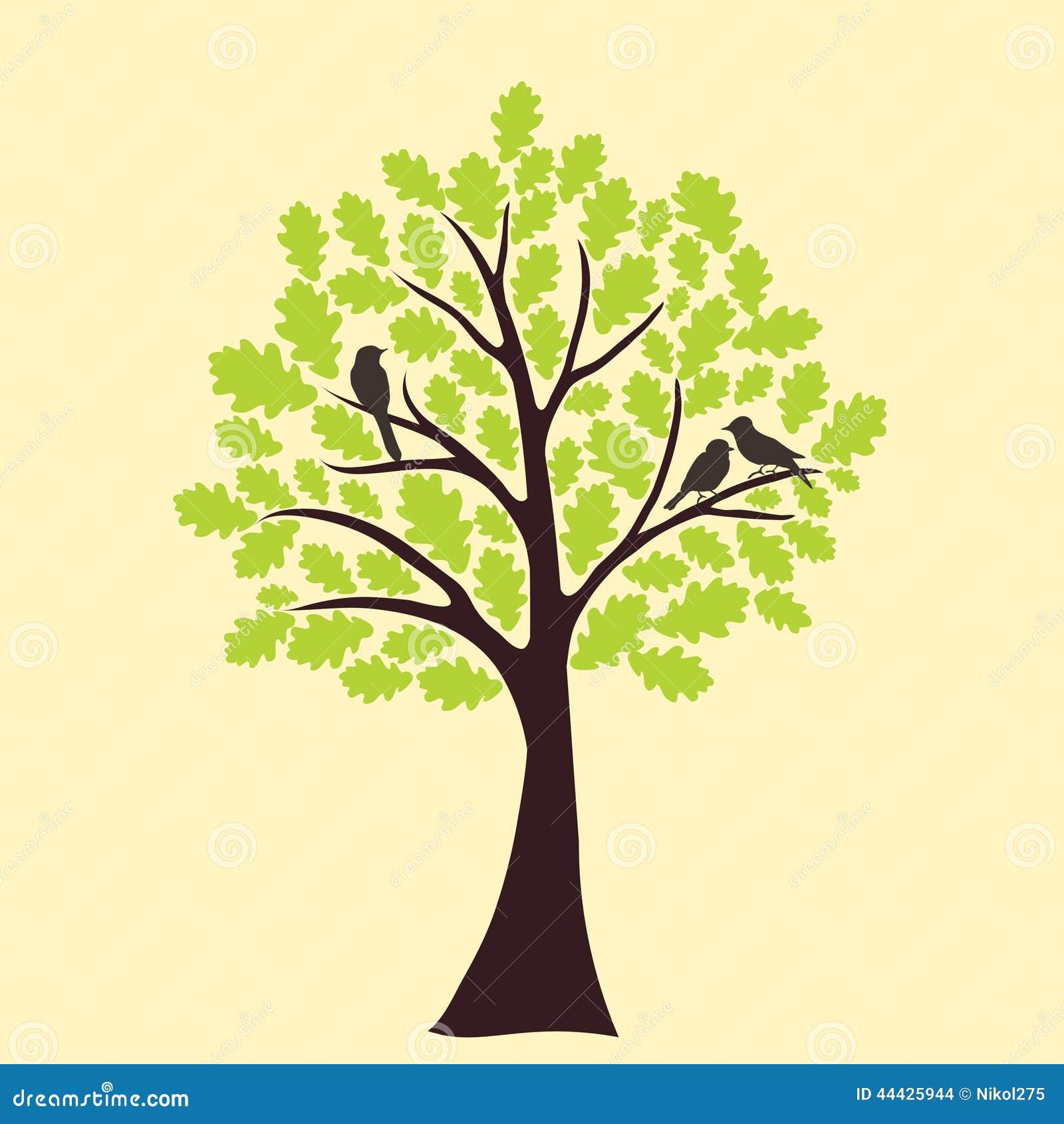 Karte mit Blumenbaum- und Liebesvogel