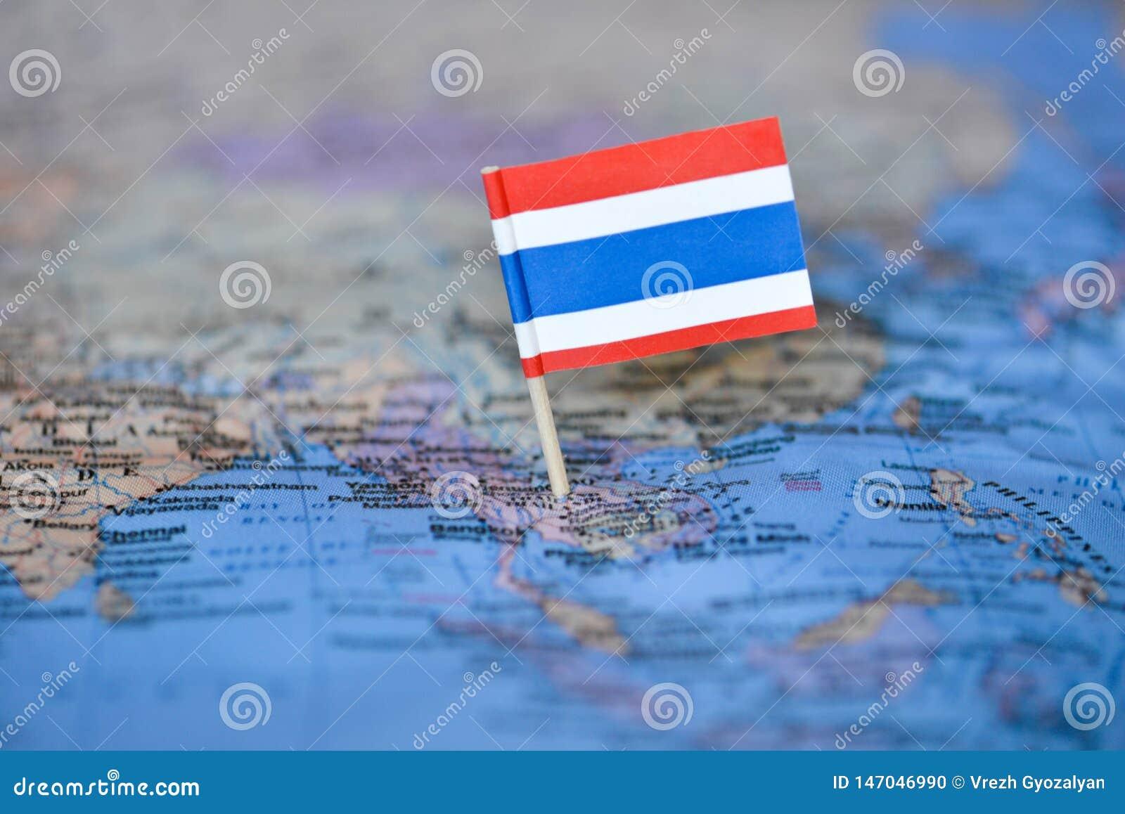 Karte mit Flagge von Thailand