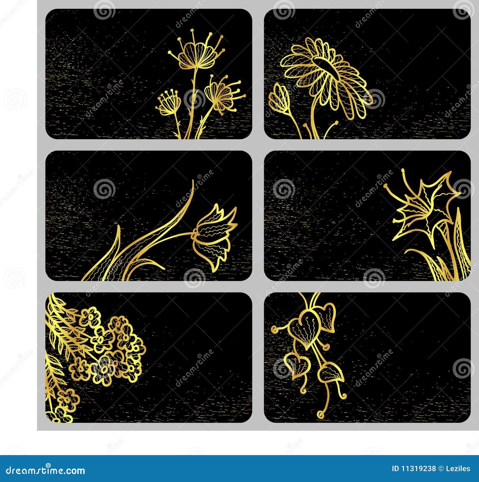 Karte mit Goldblumen