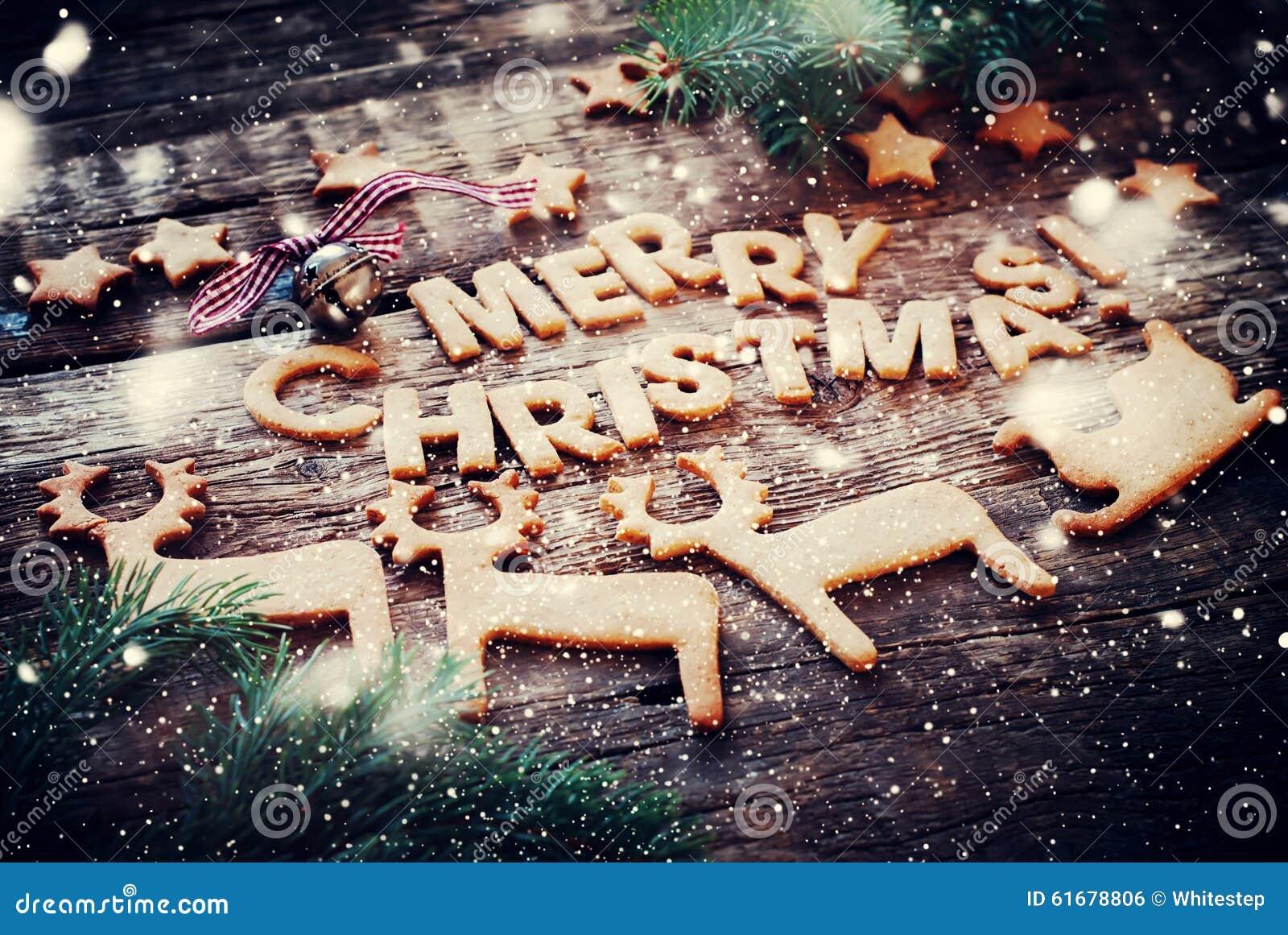 Buchstaben Frohe Weihnachten.Karte Mit Lebkuchen Plätzchen Buchstaben Frohe Weihnachten Und