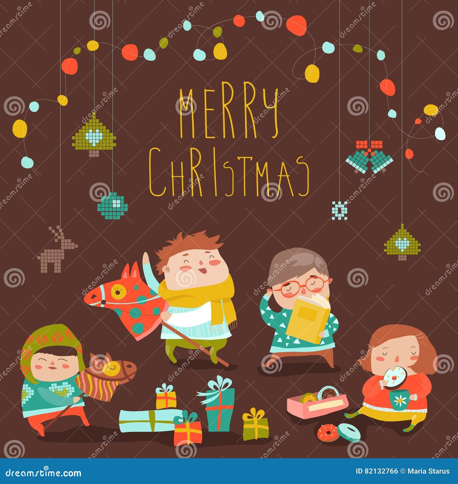Karte Mit Netten Kindern, Bonbons Und Weihnachtsgeschenken Vektor ...