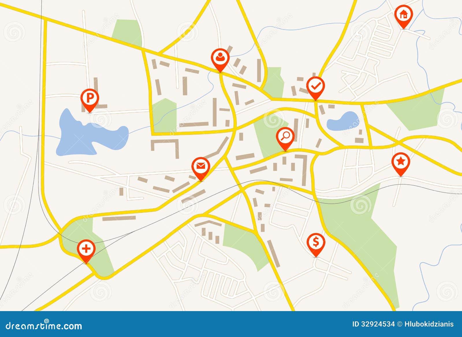 Karte mit roten Stiftzeigern