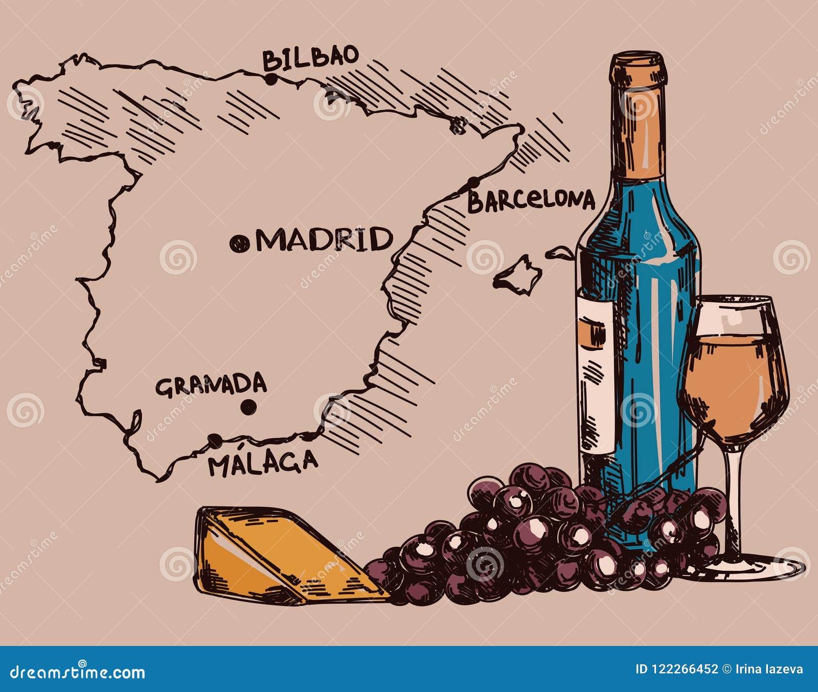 Karte mit Weinflasche, Glas und Käse und Spanien zeichnen auf