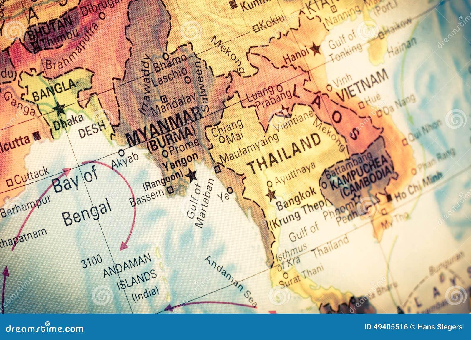 Karte Myanmar.Karte Myanmar Und Birma Stockfoto Bild Von Foto Laos 49405516