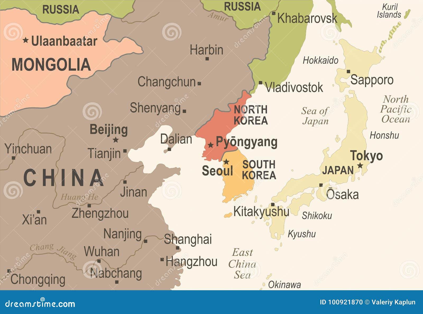 Karte Nordkoreas Südkorea Japan China Russland Mongolei - Weinlese-Vektor-Illustration