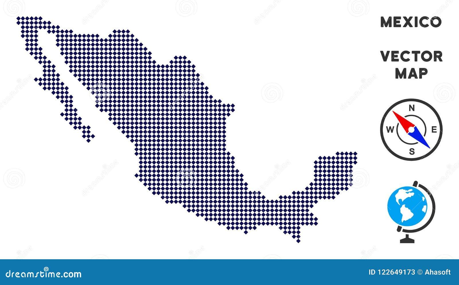 Karte Pixelated Mexiko