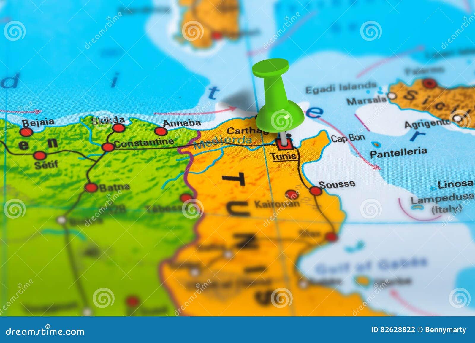 Tunesien Karte.Karte Tunis Tunesien Stockfoto Bild Von Markiert