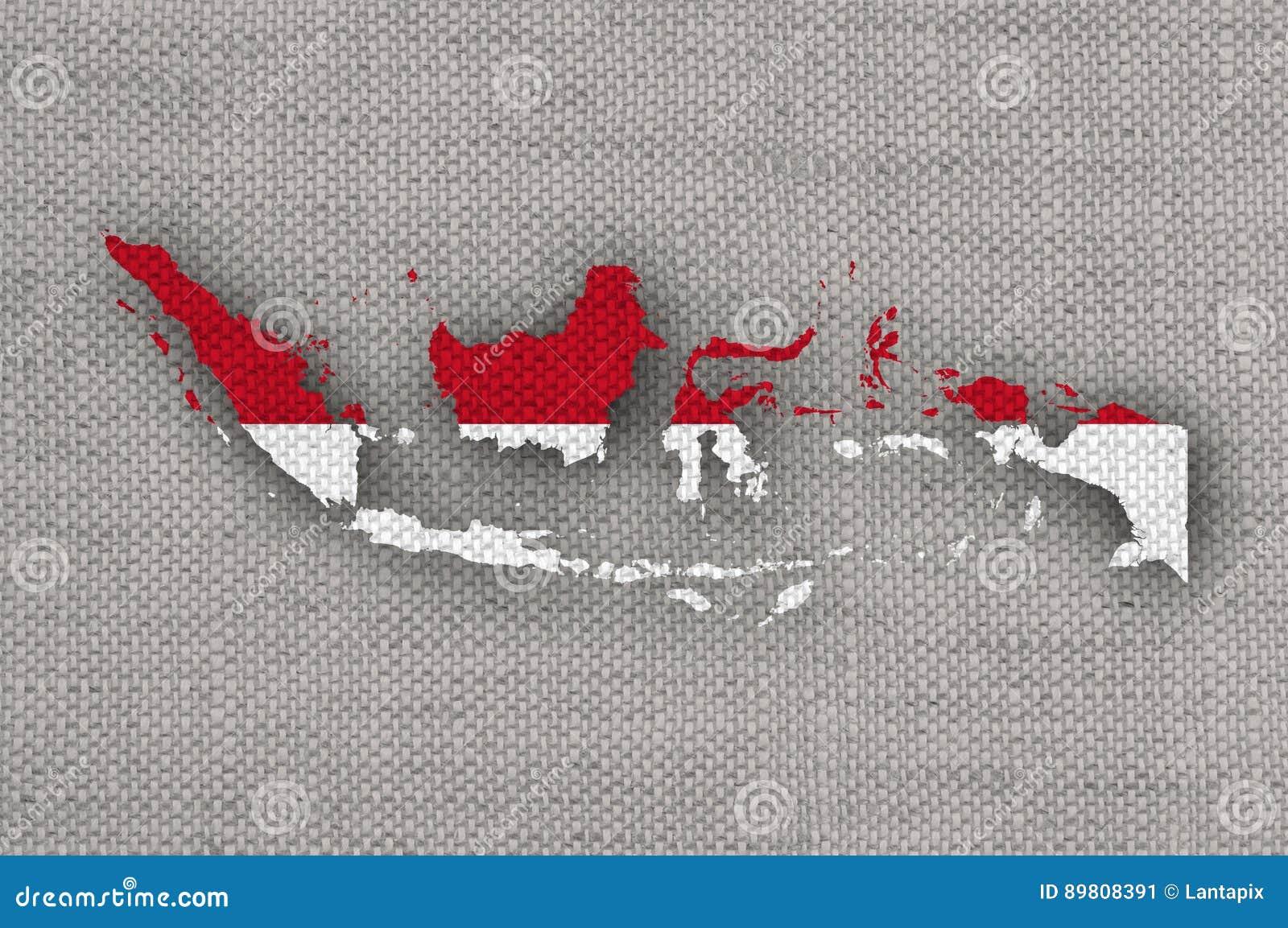 Karte und Flagge von Indonesien auf altem Leinen