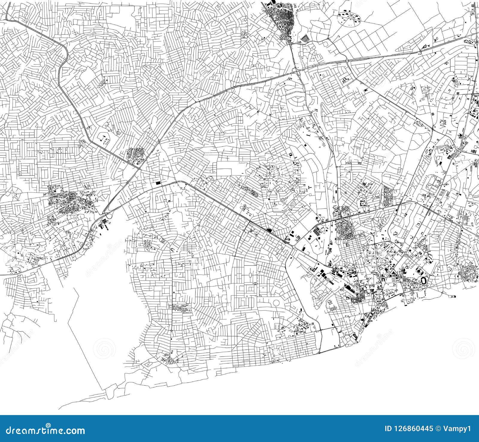 Ghana Karte.Karte Von Accra Satellitenbild Stadt Ghana Strassen Afrika