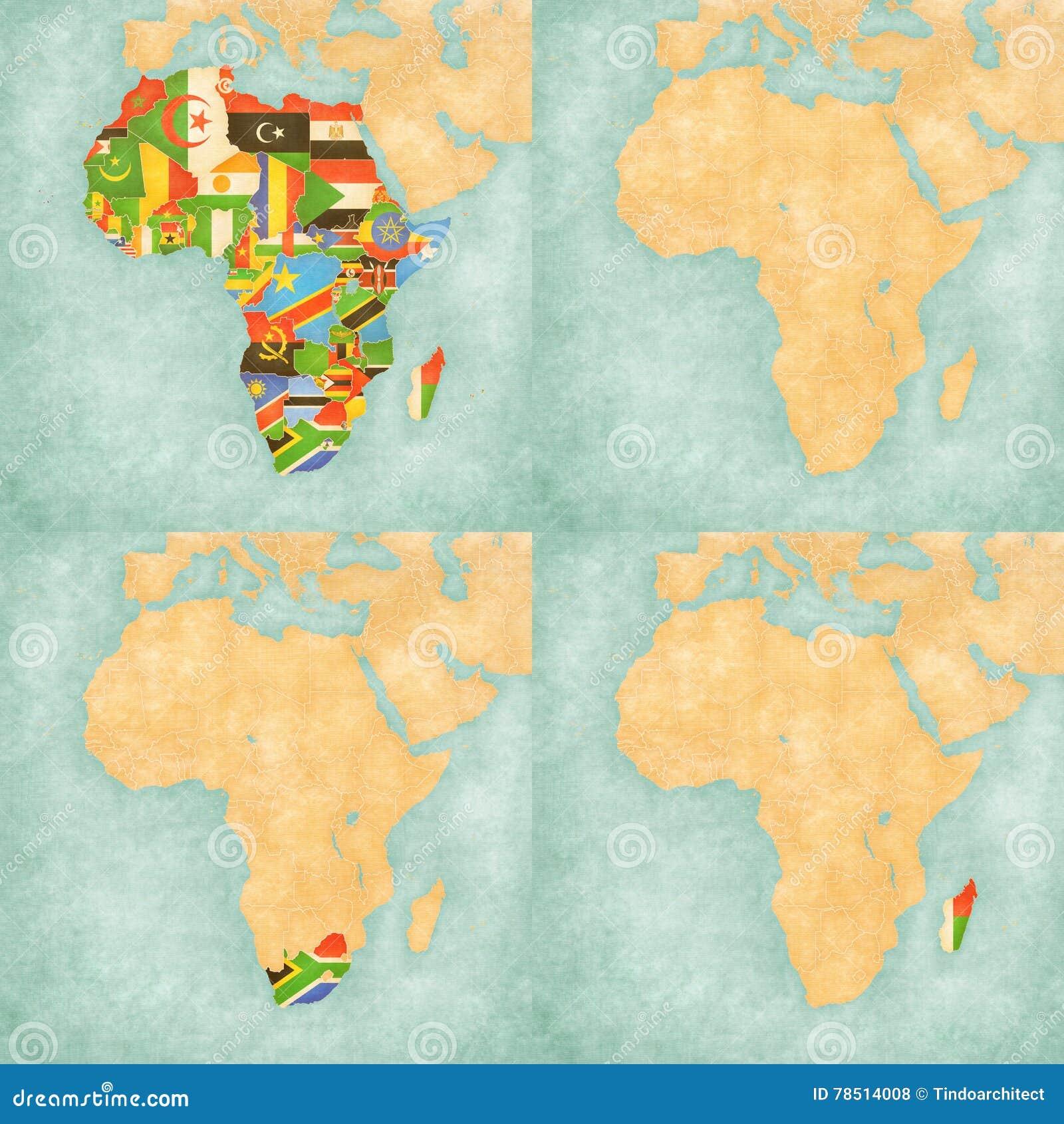 Afrika Karte Staaten.Karte Von Afrika Flaggen Aller Länder Leere Karte Südafrika Und