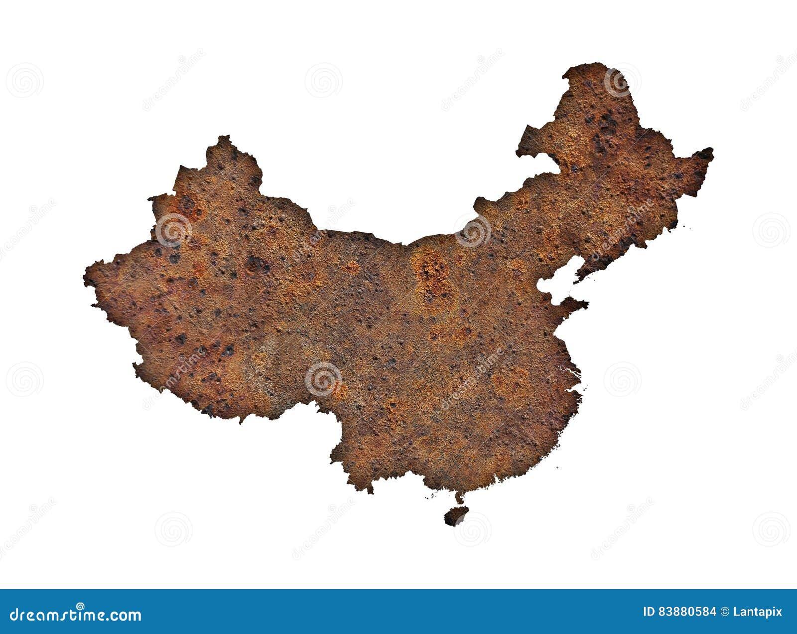 karte von china auf rostigem metall stockfoto bild von metall schatten 83880584. Black Bedroom Furniture Sets. Home Design Ideas