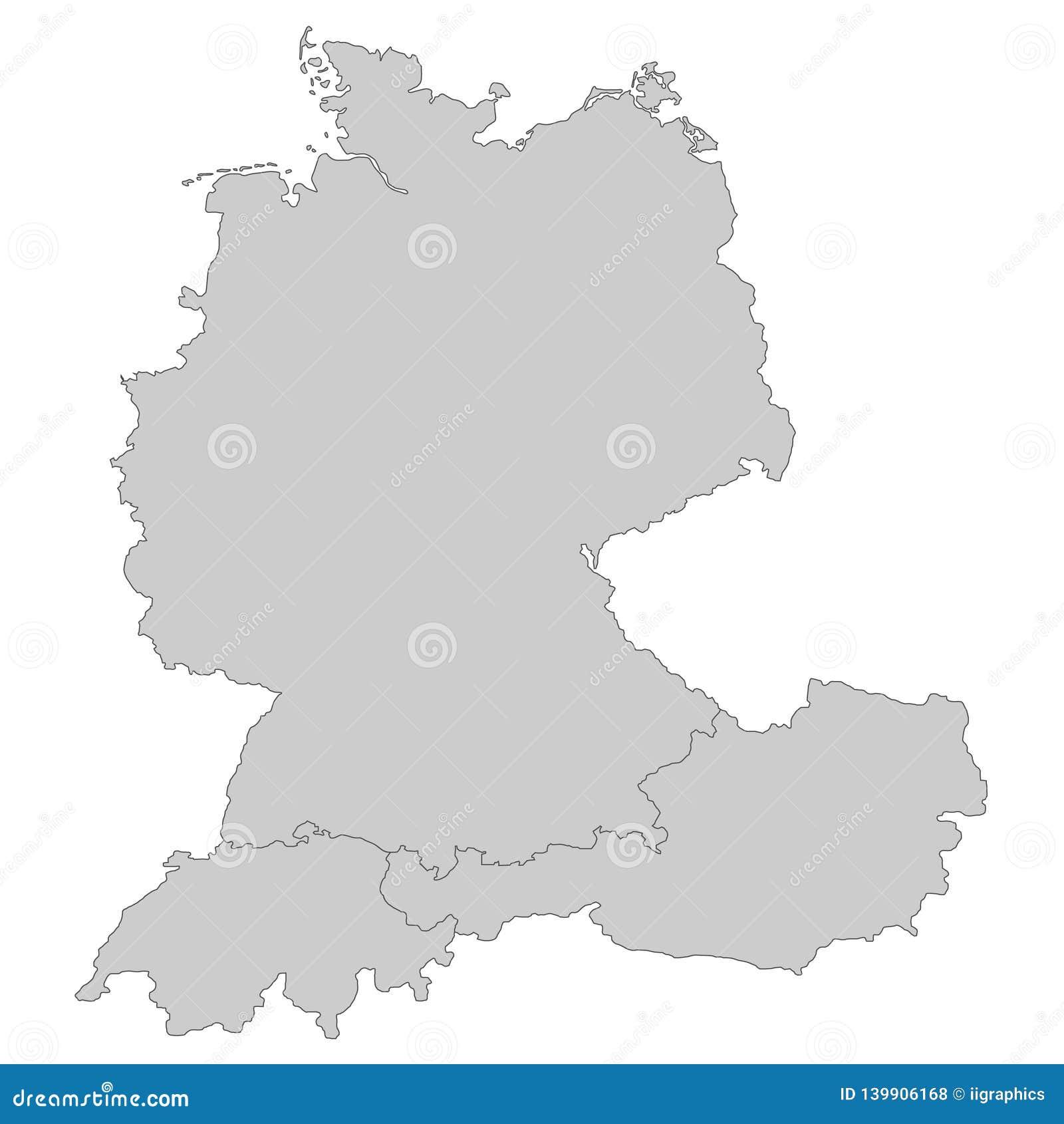 Karte Von Deutschland Von Osterreich Und Von Schweiz Stock
