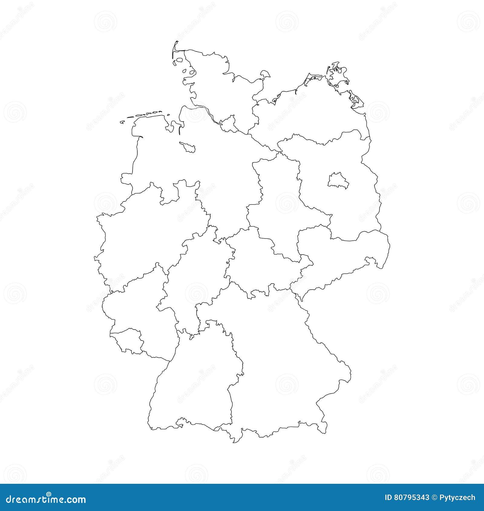 Karte Von Deutschland Teilte Sich Zu Den Bundeslandern Vektor