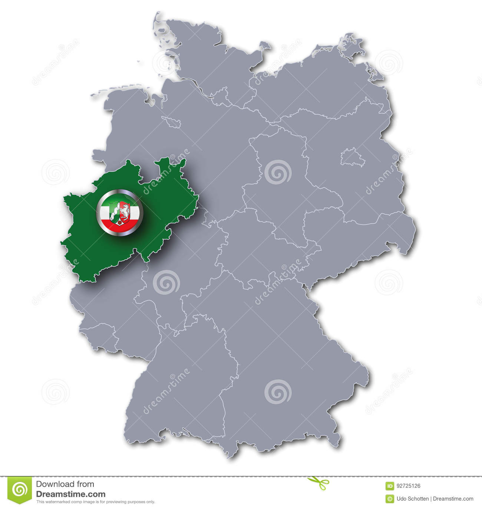 Nordrhein Westfalen Karte.Karte Von Deutschland Und Von Nordrhein Westfalen Stock