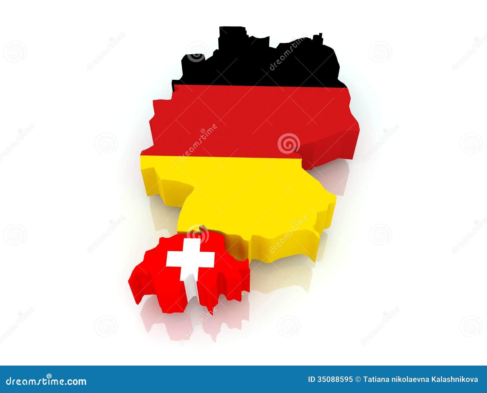 Karte Von Deutschland Und Von Schweiz. Stock Abbildung - Bild ... - Deutschland Und Schweiz Karte