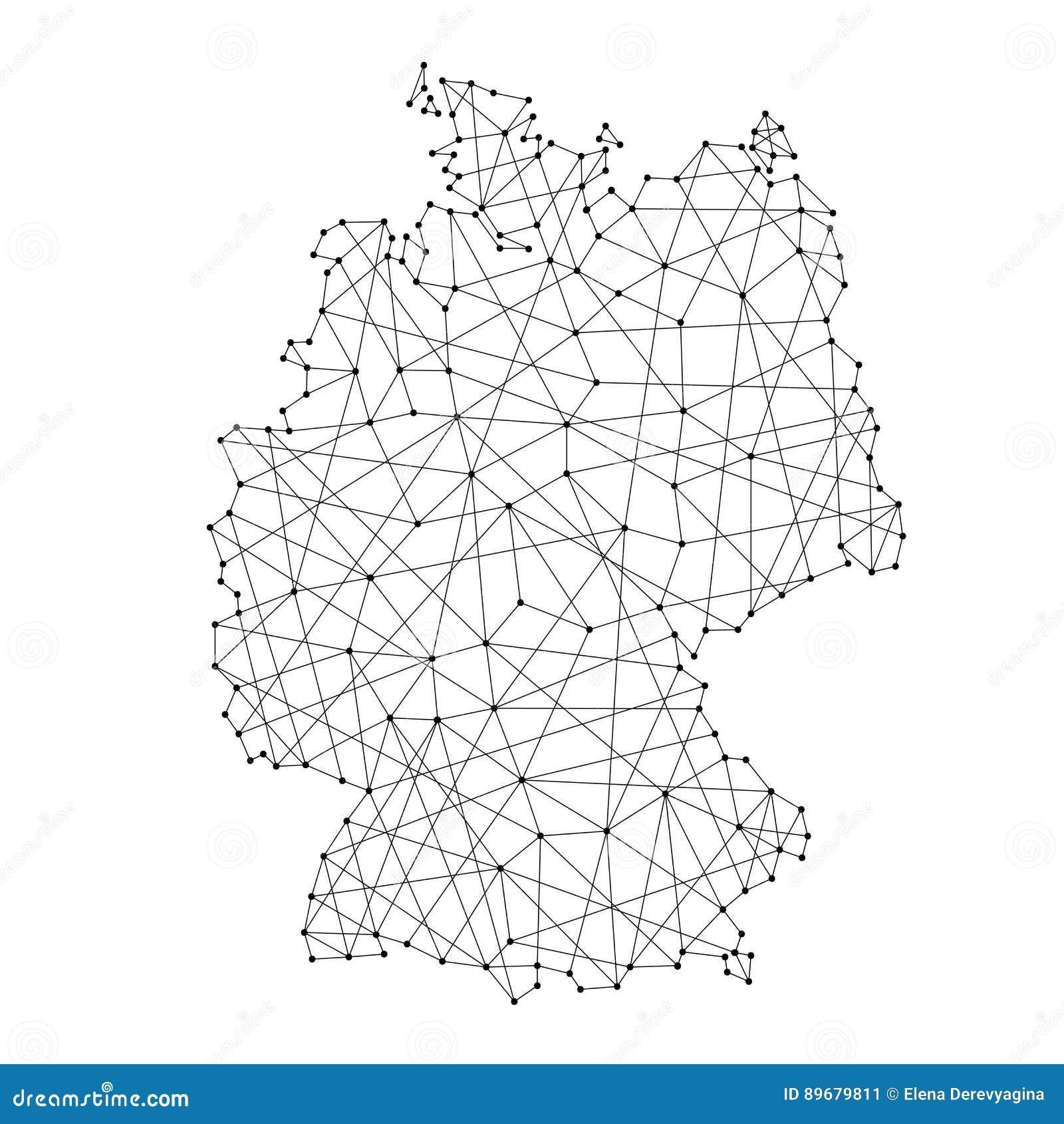 deutschland karte punkte Karte Von Deutschland Von Den Polygonalen Schwarzen Linien, Punkte