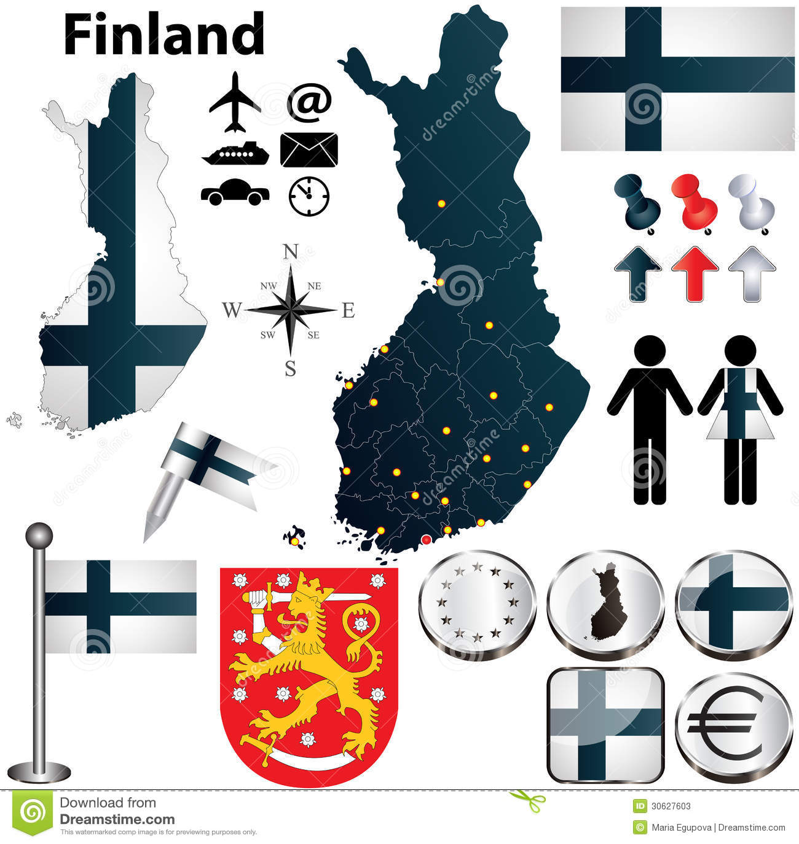 Karte von Finnland mit Regionen