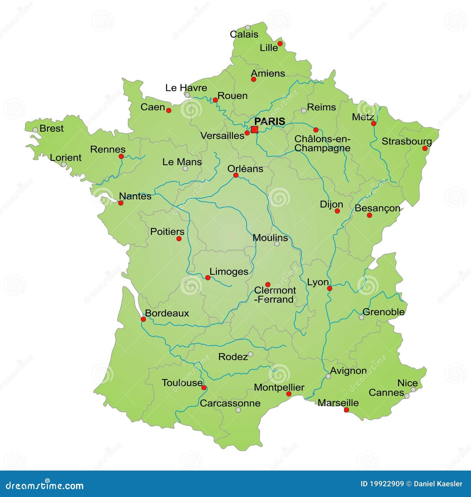 Karte Von Frankreich Vektor Abbildung Illustration Von Provinzen